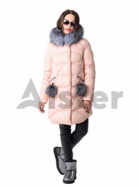Зимняя куртка женская с мехом чернобурки