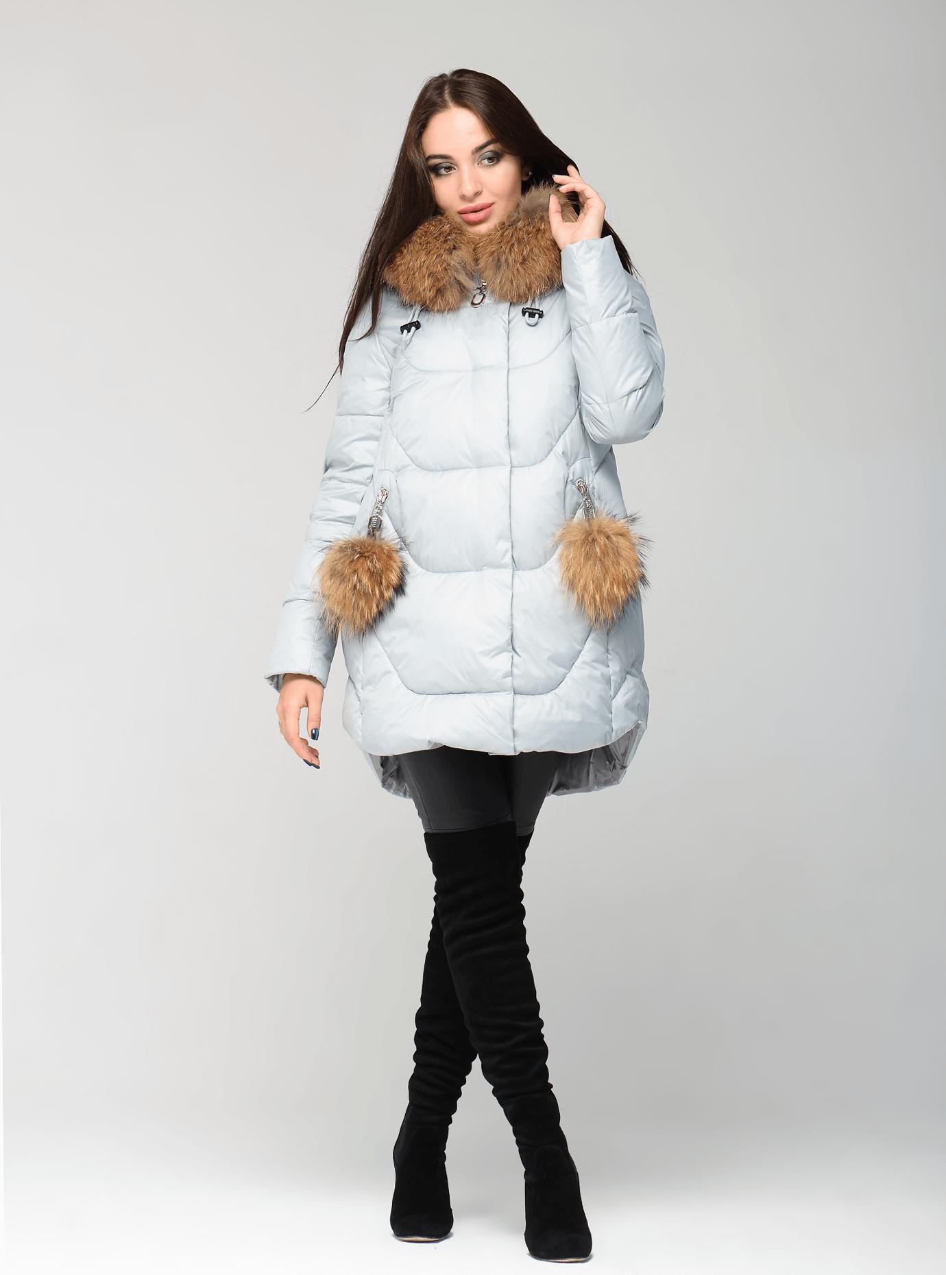 Зимняя куртка женская стёганная с помпонами Чёрный S (05-CH19110): фото - Alster.ua