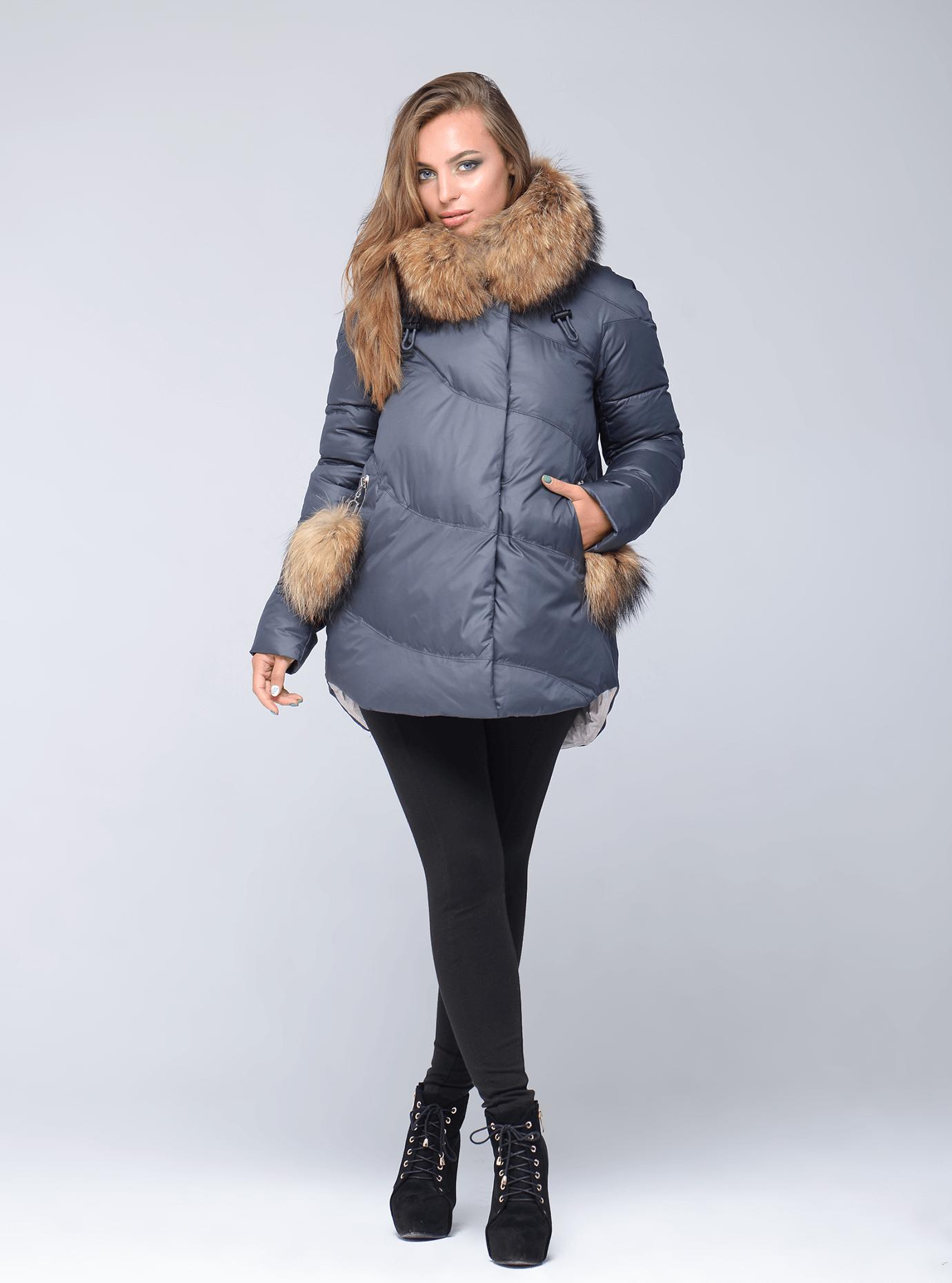 Зимняя куртка женская прямой фасон Тёмно-серый L (05-CH19026): фото - Alster.ua