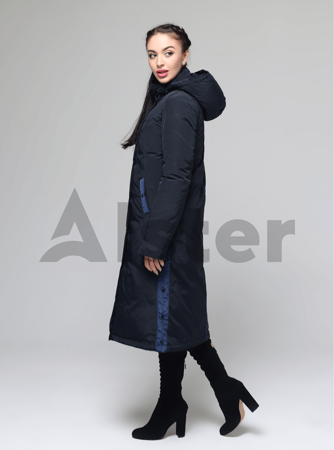 Пуховик зимний прямой с капюшоном Тёмно-синий S (04-CC19041): фото - Alster.ua