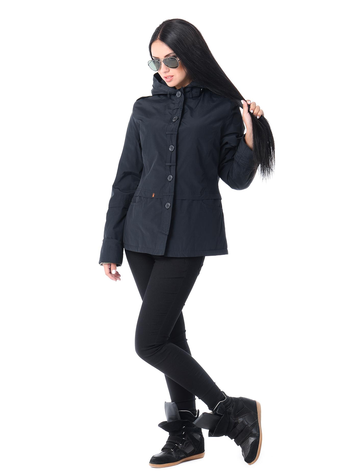 Куртка демисезонная короткая на пуговицах Чёрный S (04-CC19122): фото - Alster.ua