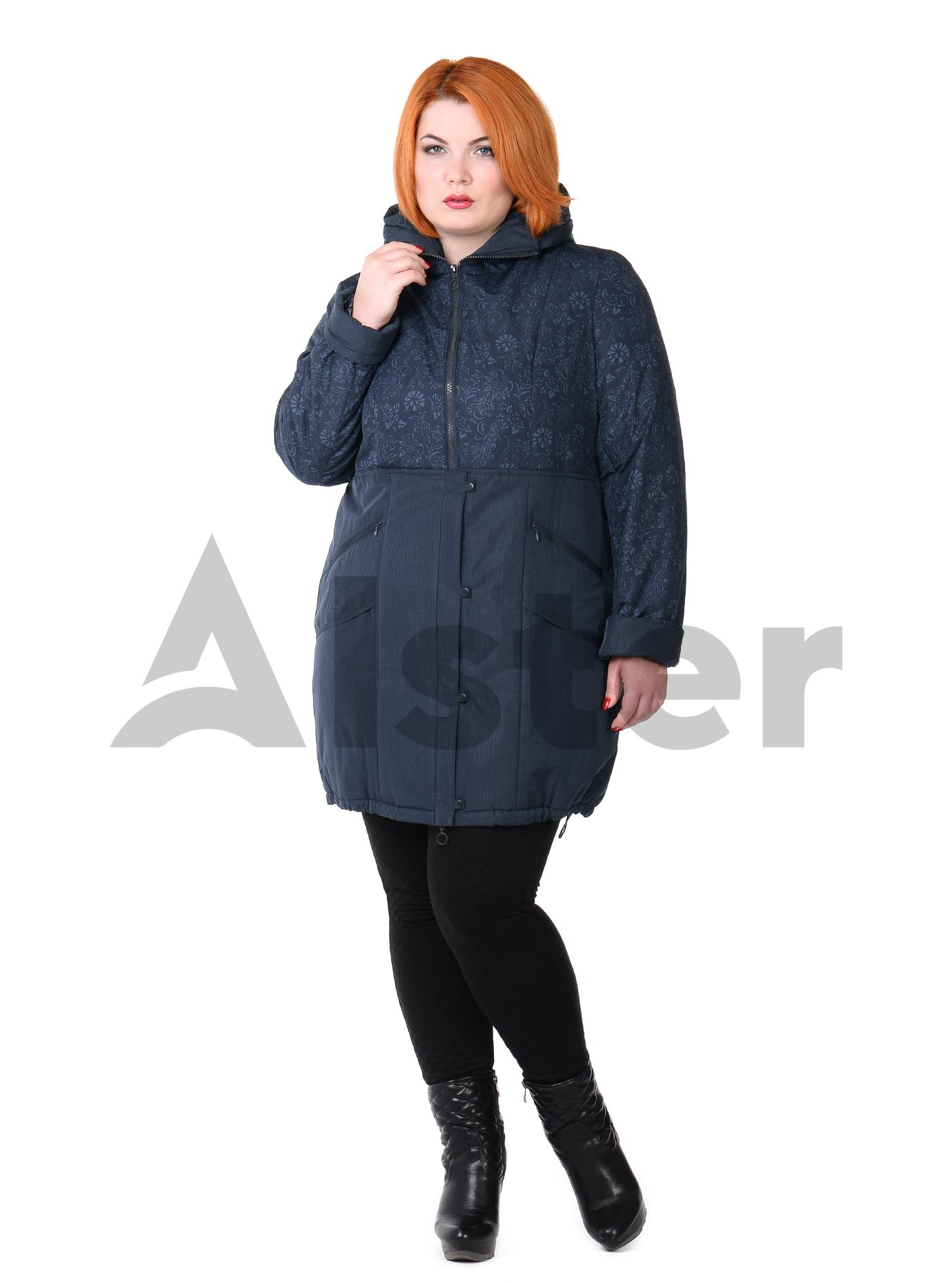 Куртка демисезонная средней длины с капюшоном Тёмно-синий S (03-P19044): фото - Alster.ua