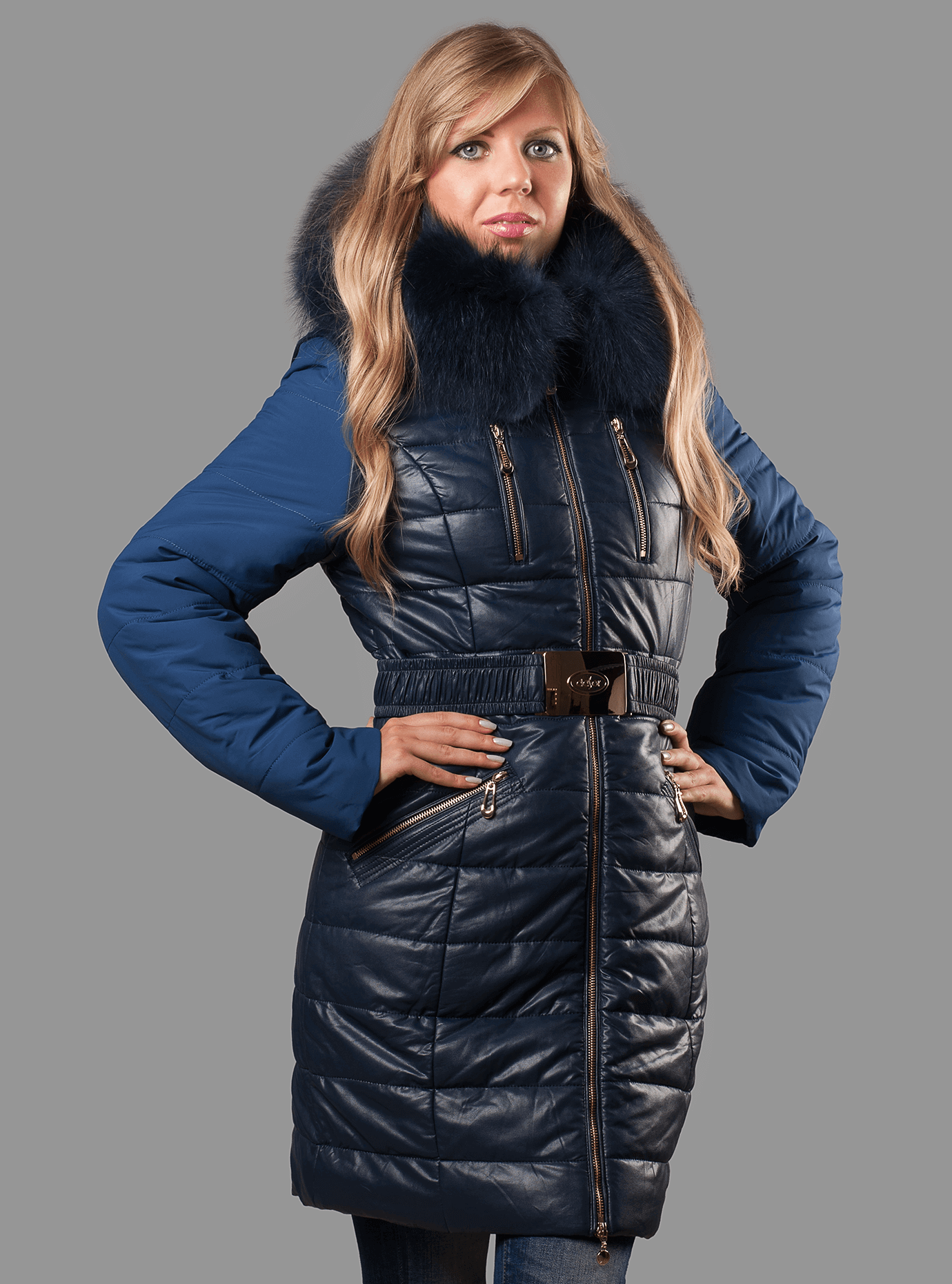 Куртка женская зимняя с мехом енота Тёмно-синий S (05-ZZ19033): фото - Alster.ua