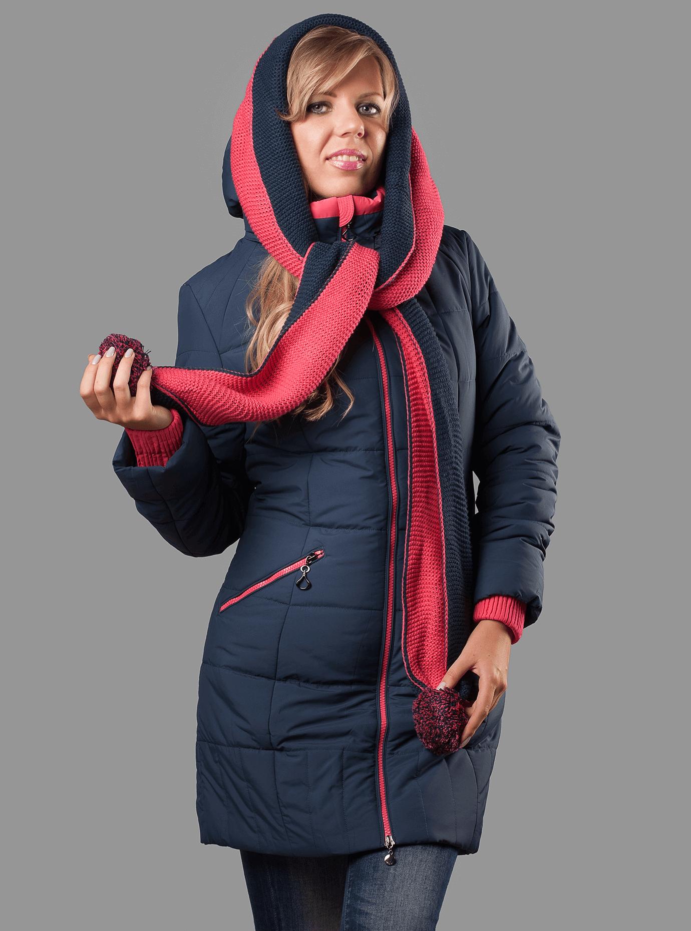 Куртка женская зимняя с шарфом Тёмно-синий S (05-ZZ19048): фото - Alster.ua