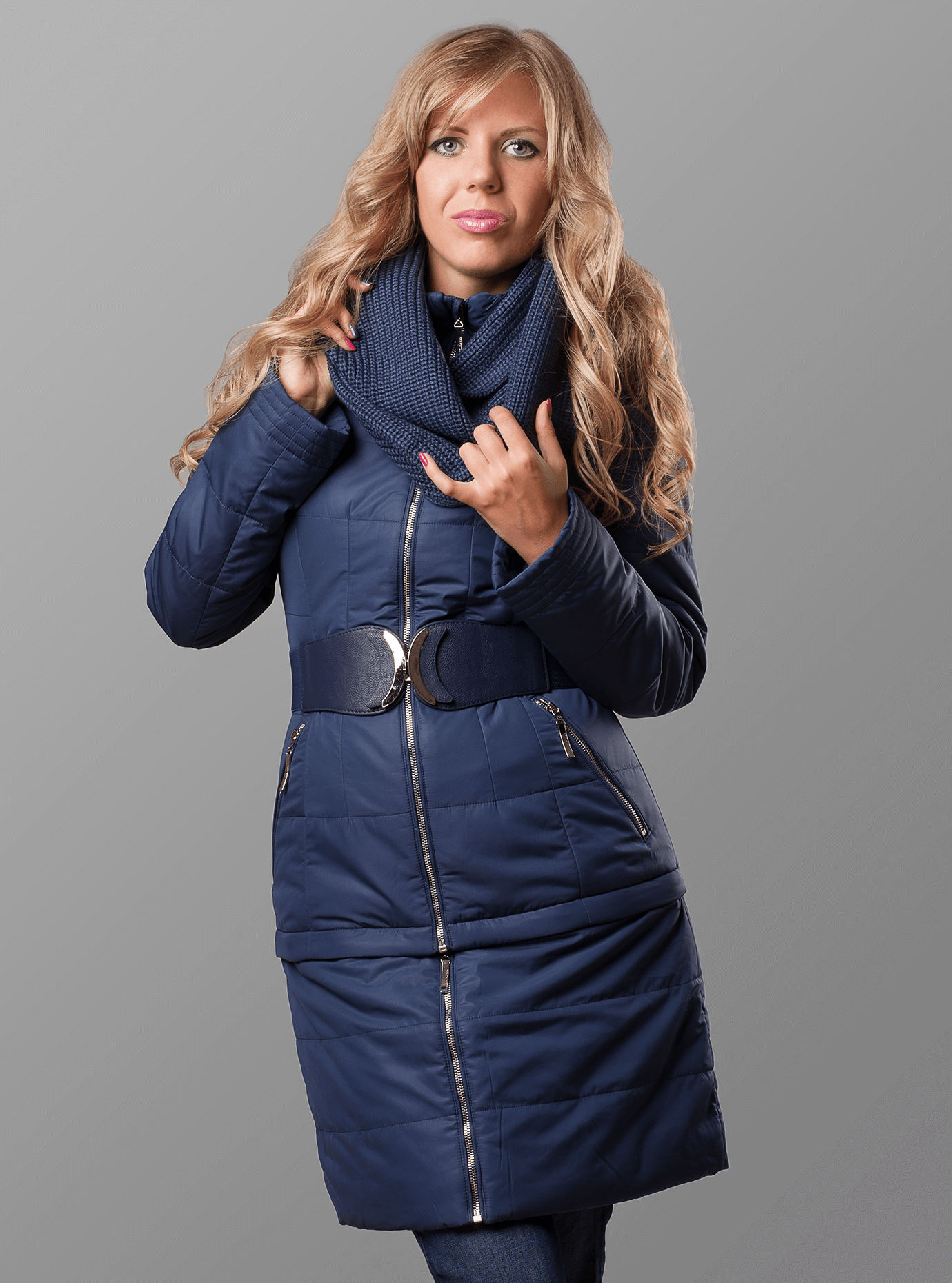 Куртка женская зимняя плюс ремень и снуд Тёмно-синий S (05-ZZ19061): фото - Alster.ua