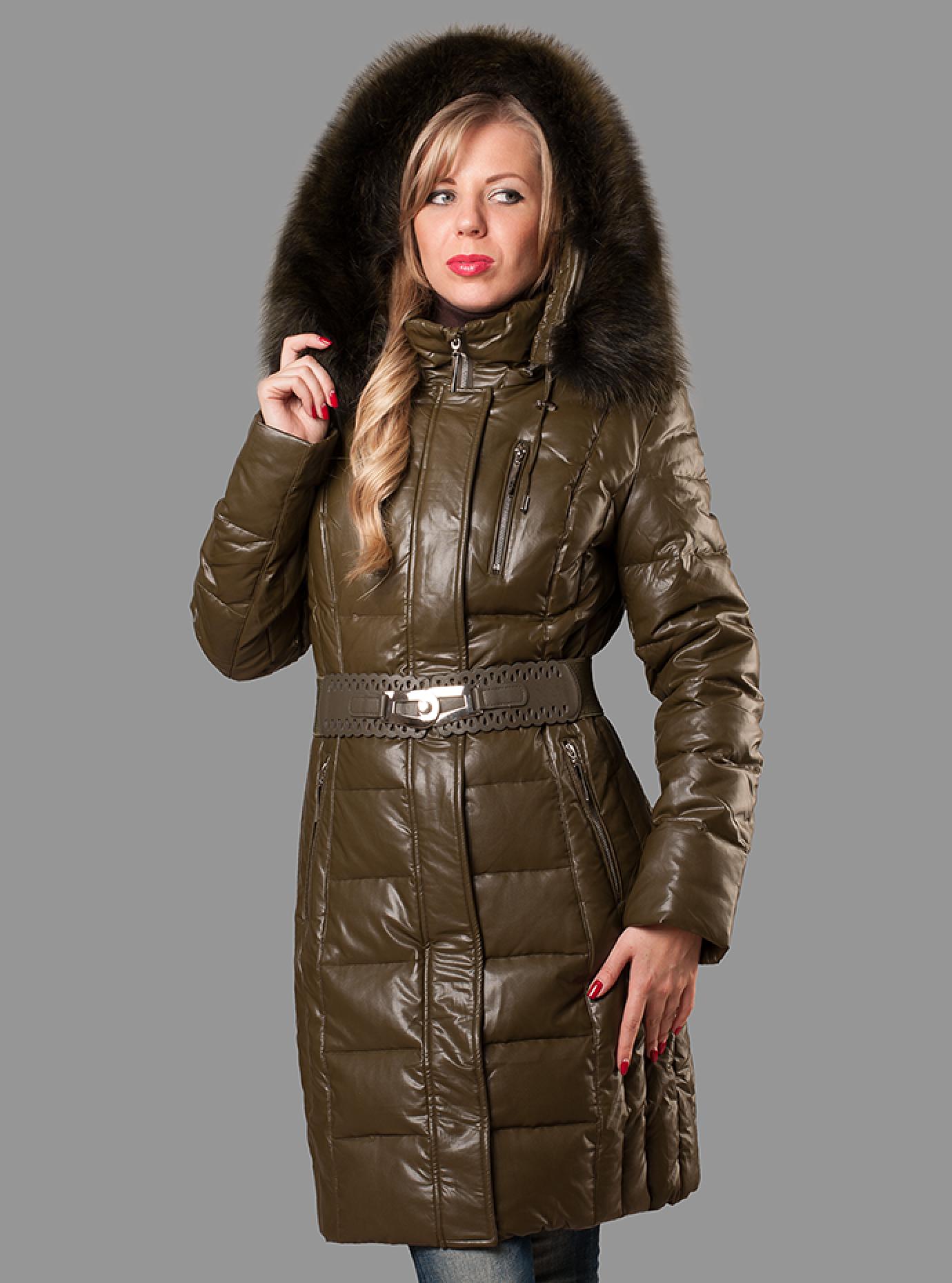 Пуховик женский зимний Коричневый S (05-ZZ19086): фото - Alster.ua