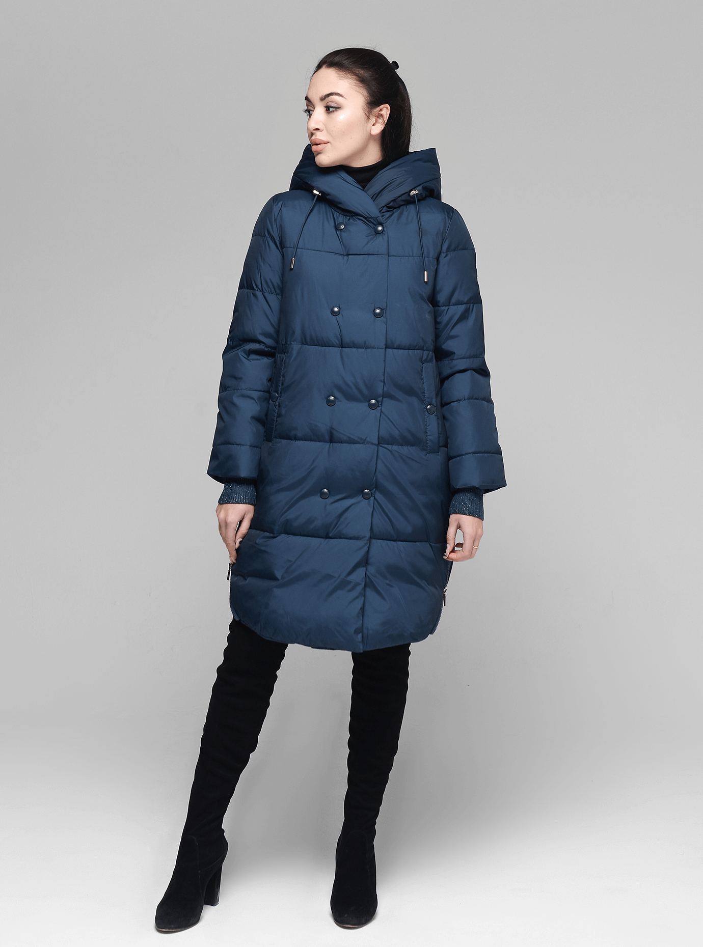Куртка жіноча зимова з капюшоном Синій 2XL (05-ZZ19010): фото - Alster.ua
