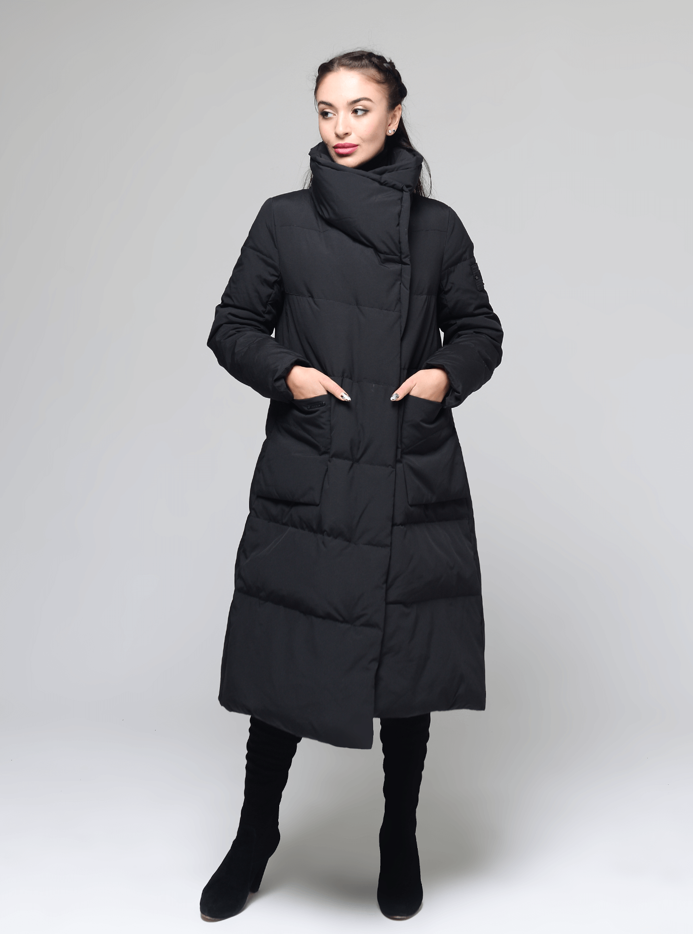 Пуховик женский зимний горизонтальная стёжка Чёрный S (02-MS19031): фото - Alster.ua