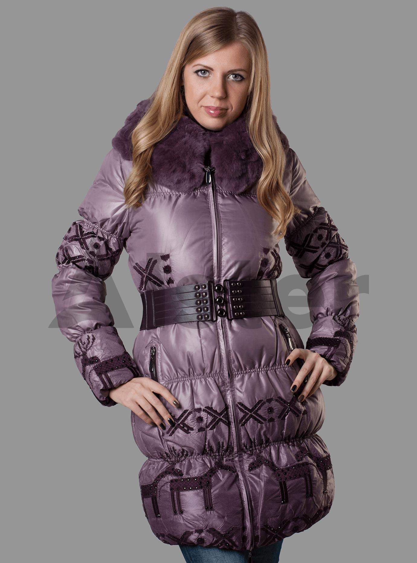Пуховик женский с мехом Синий S (01-RR17025): фото - Alster.ua