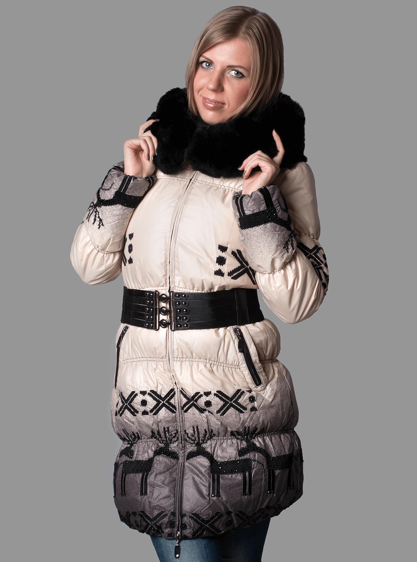Пуховик женский с мехом Синий S (01-RR17026): фото - Alster.ua