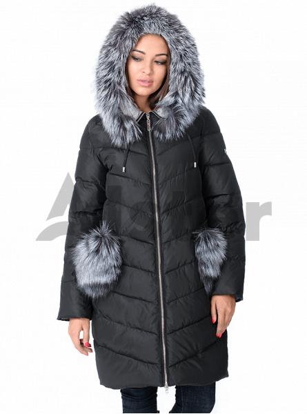 Куртка зимняя длинная с мехом чернобурки