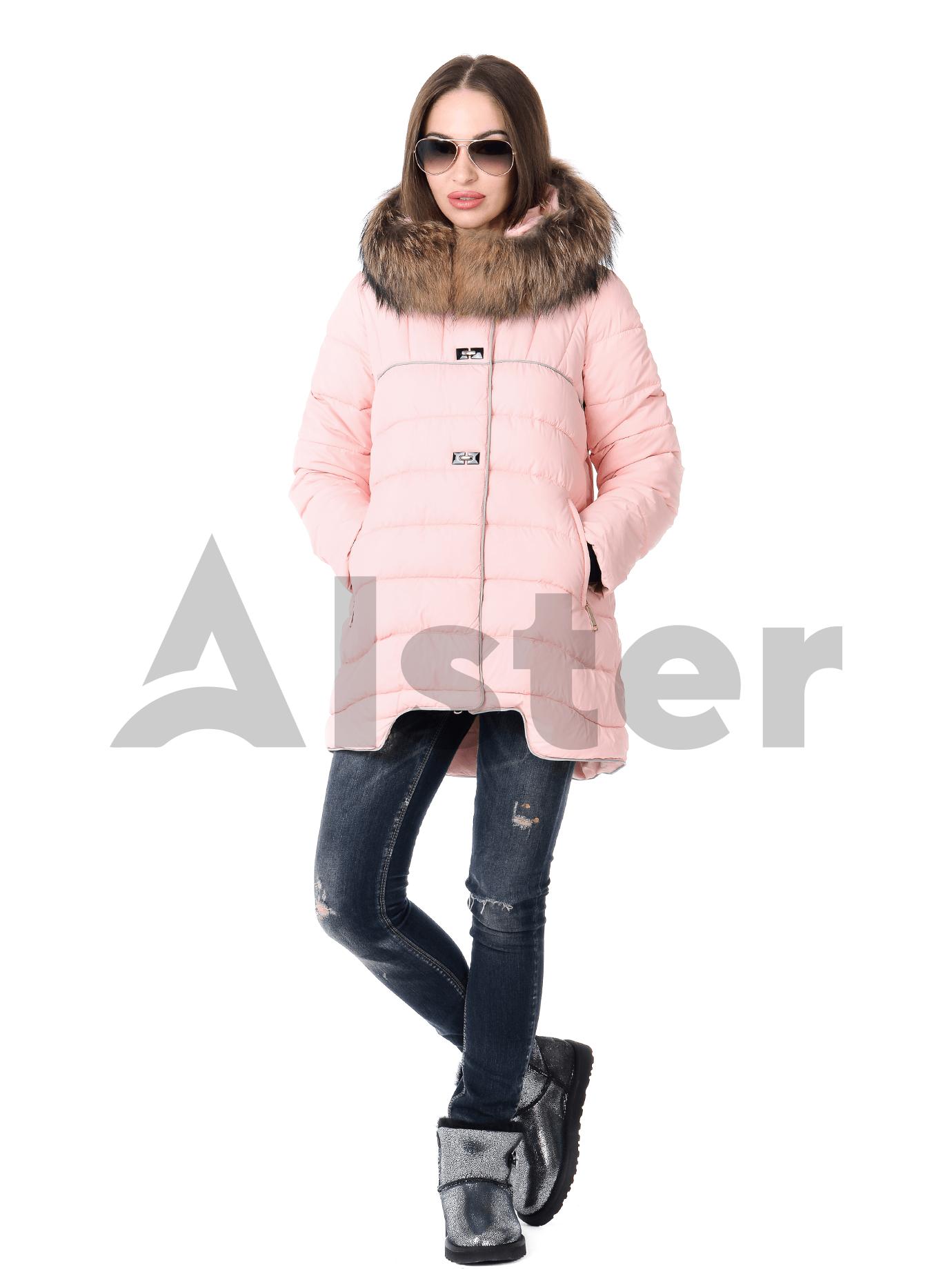 Куртка зимняя средней длины с натуральным мехом Жёлтый S (01-RR16024): фото - Alster.ua