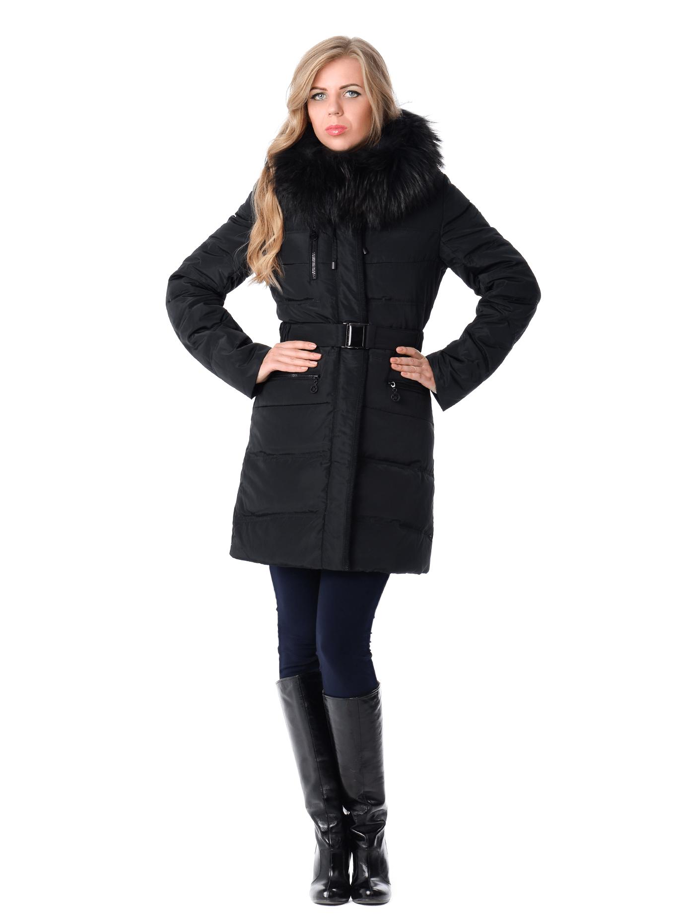 Пуховик зимний с поясом и мехом енота Чёрный S (01-RR16041): фото - Alster.ua