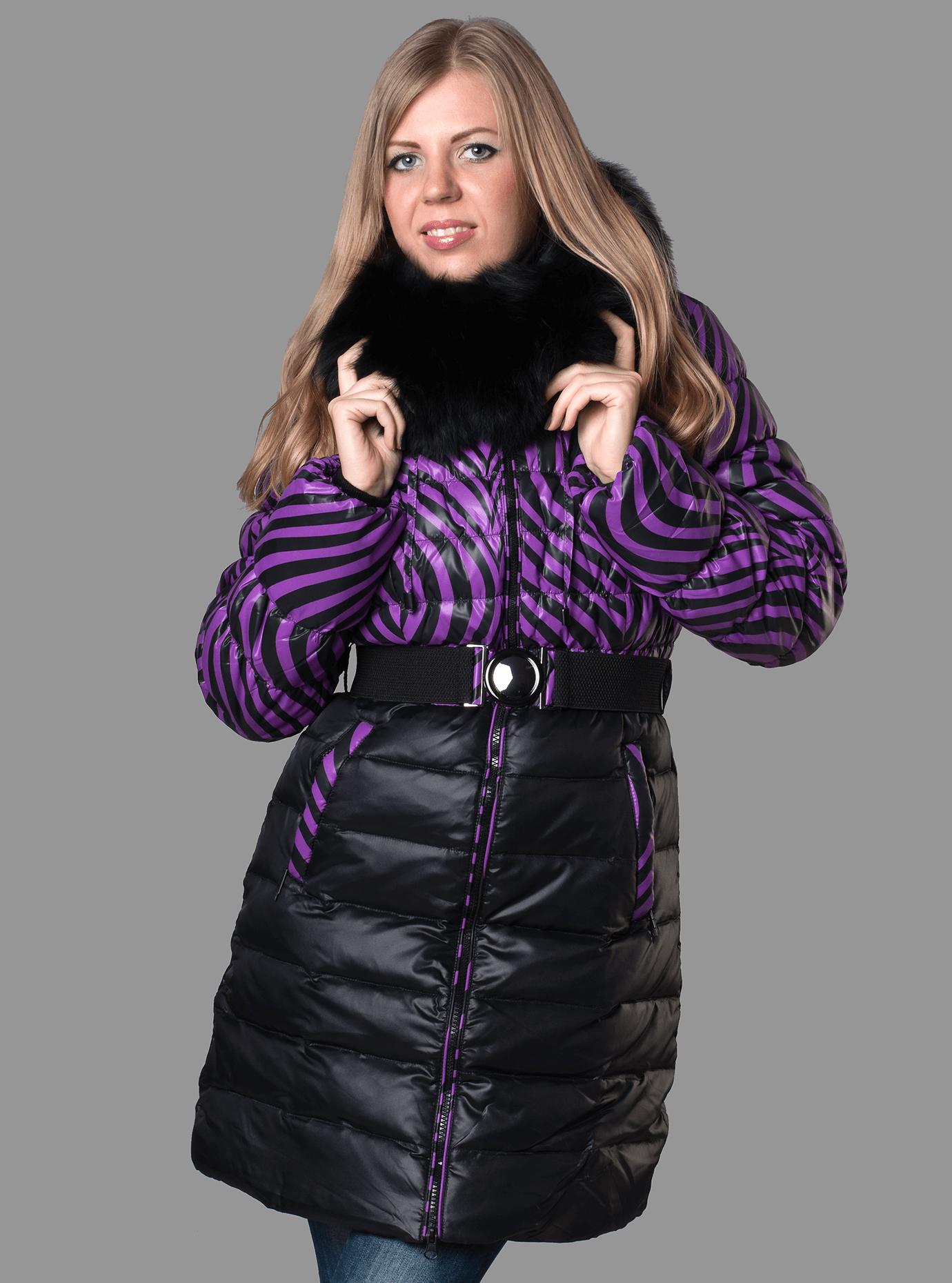 Пуховик зимний средней длины с мехом песца Фиолетовый S (01-RR16042): фото - Alster.ua