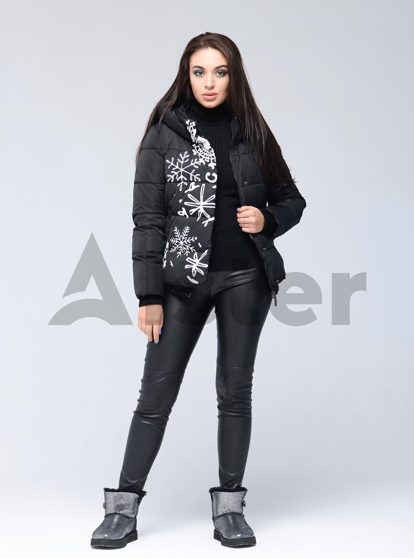 Куртка зимняя короткая с принтом Чёрный 42 (01-RR16023): фото - Alster.ua