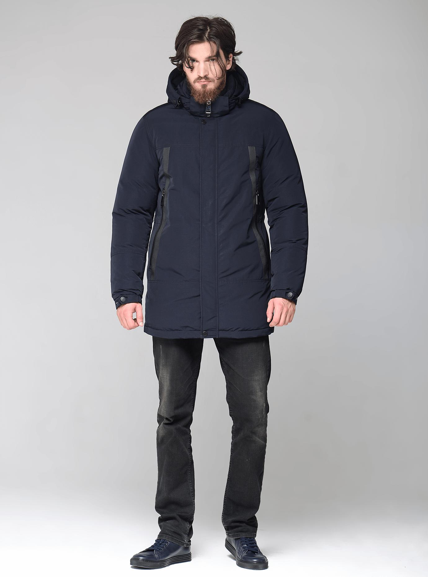 Чоловіча куртка зимова з капюшоном Синій 52 (02-MS1901207): фото - Alster.ua