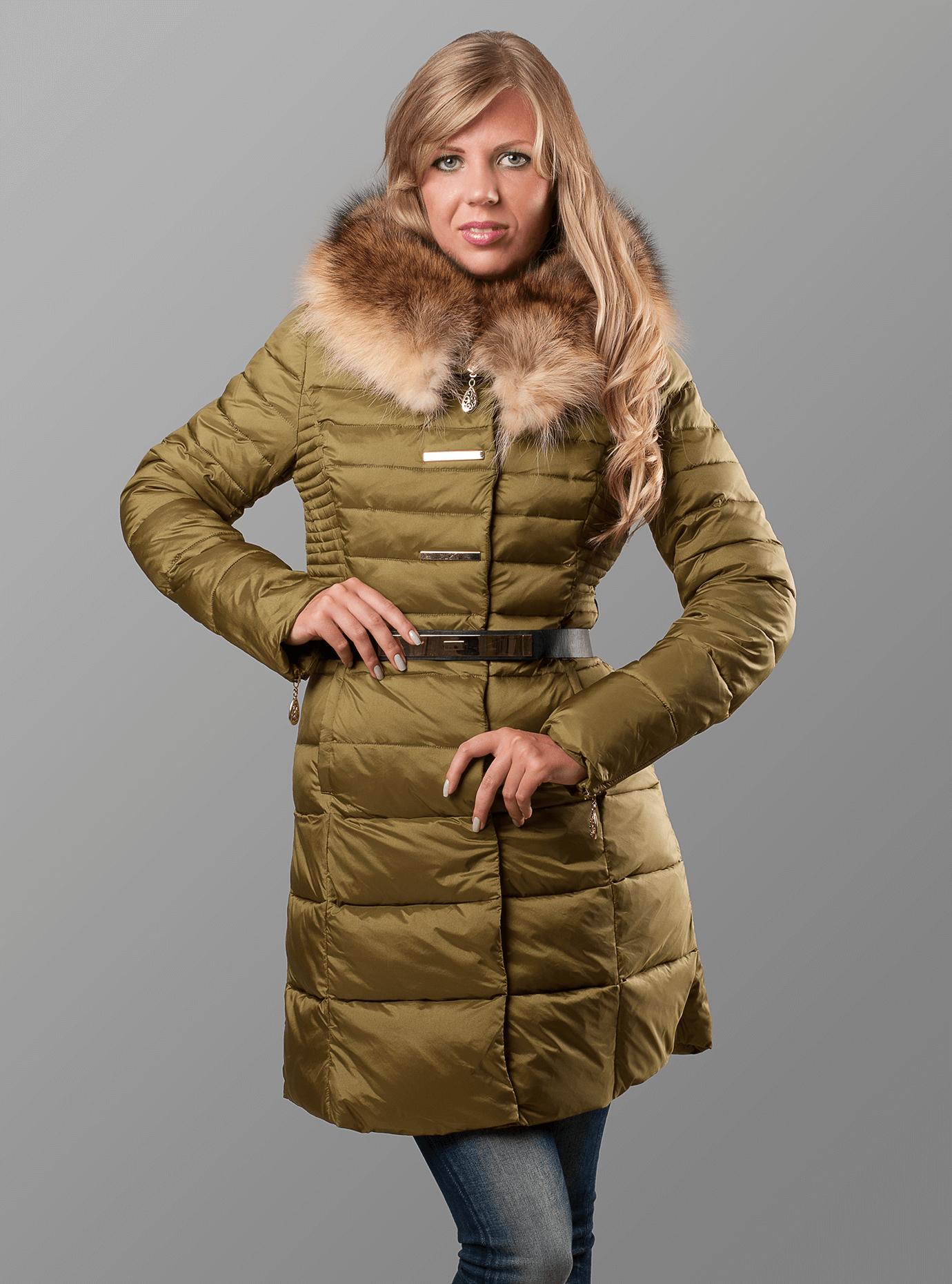 Пуховик женский с мехом енота Синий S (01-RR17004): фото - Alster.ua