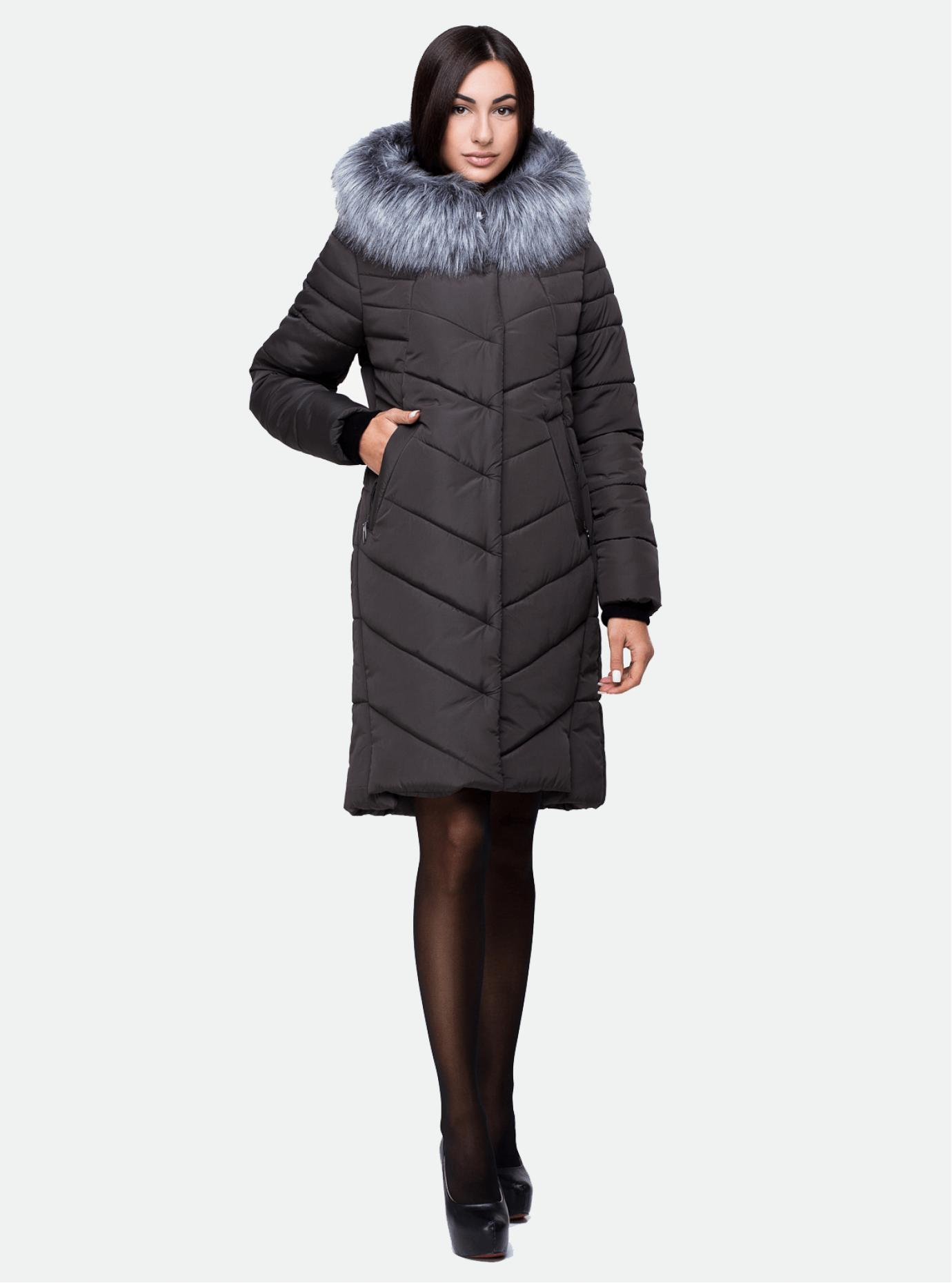 Куртка зимняя длинная с искуственным мехом Коричневый 44 (03-P19065): фото - Alster.ua