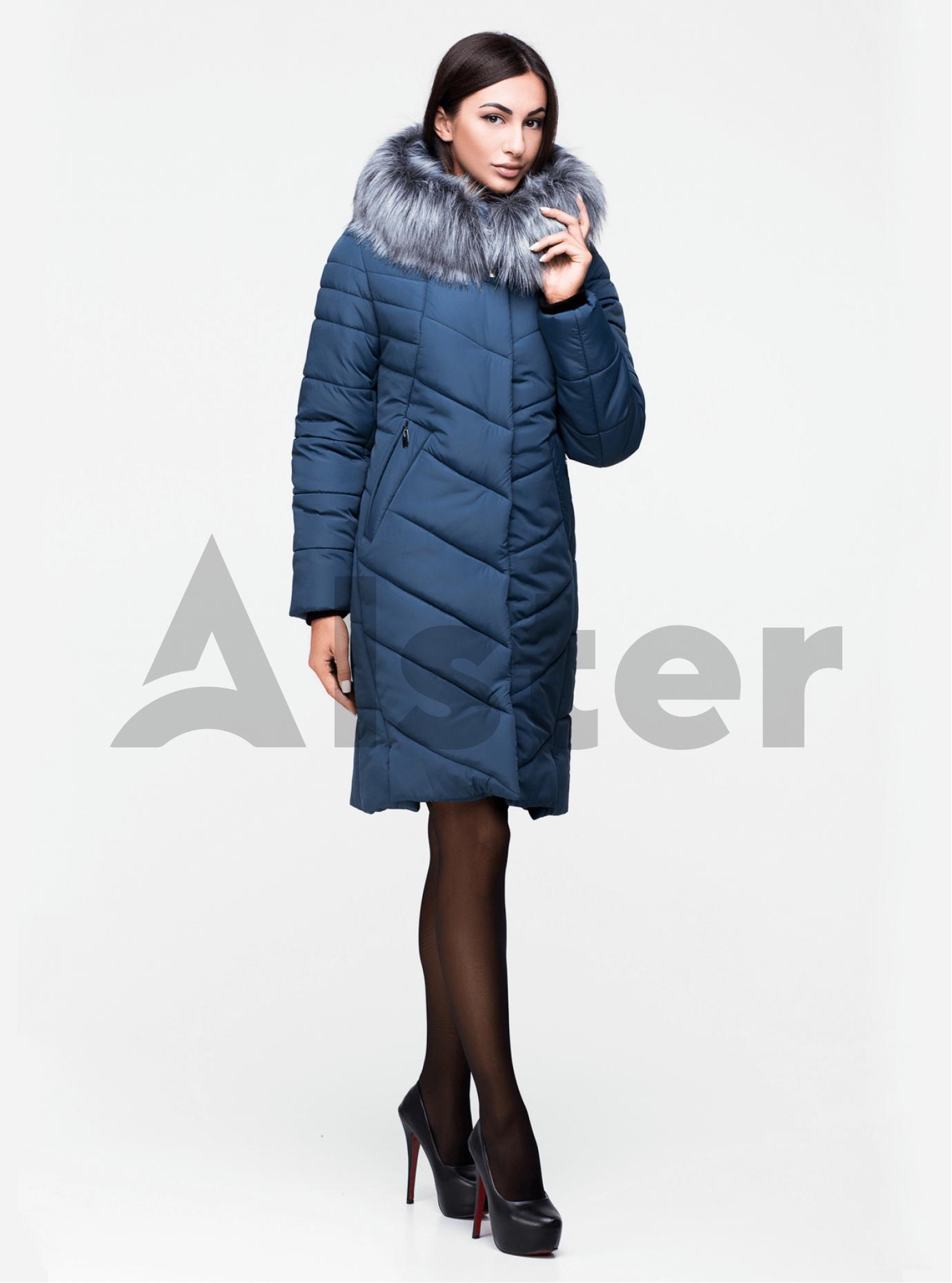 Куртка зимняя средней длины с искусственным мехом Зелёный 44 (03-P19051): фото - Alster.ua