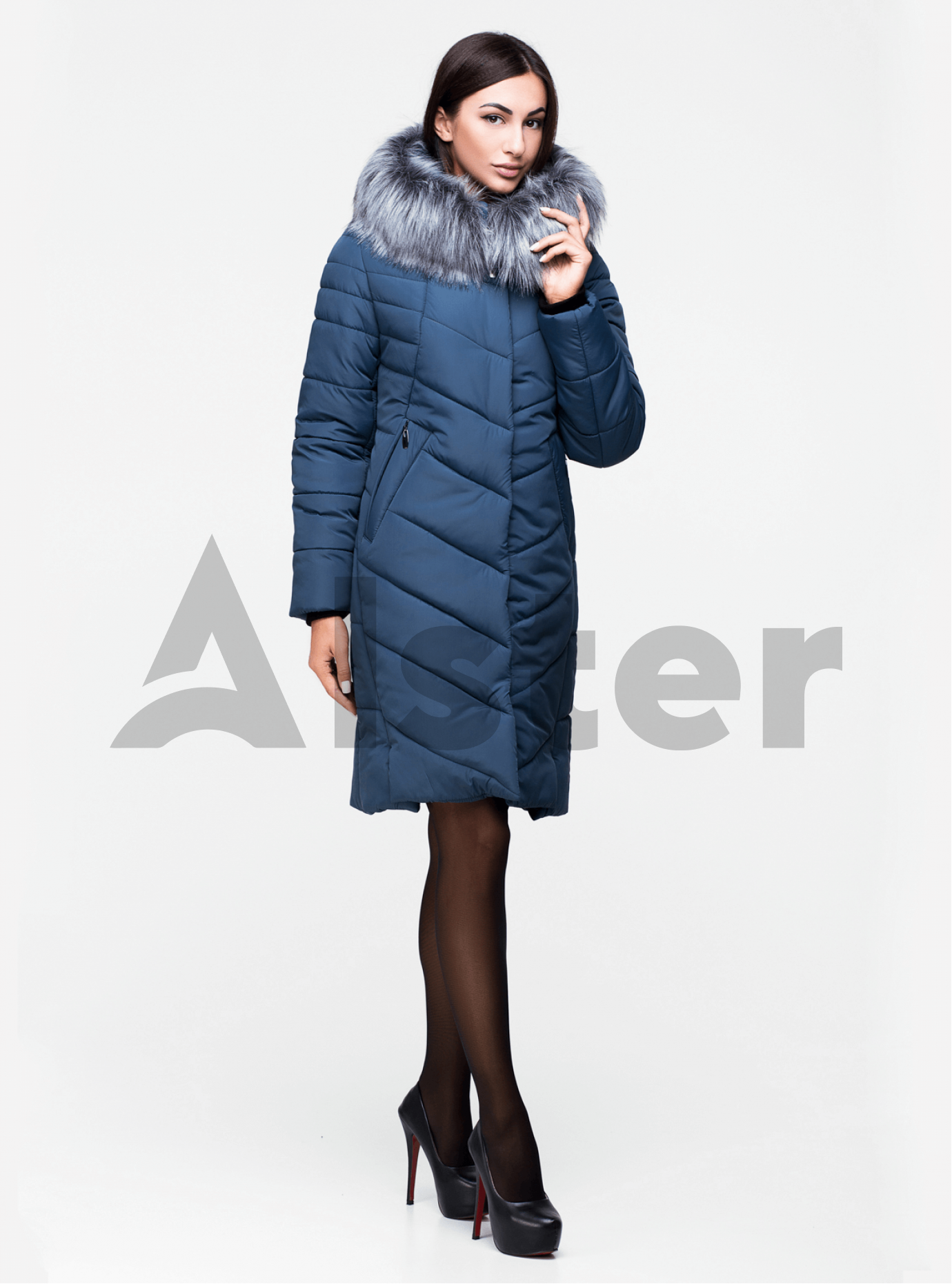 Куртка зимняя длинная с искуственным мехом Светло-синий 44 (03-P19067): фото - Alster.ua