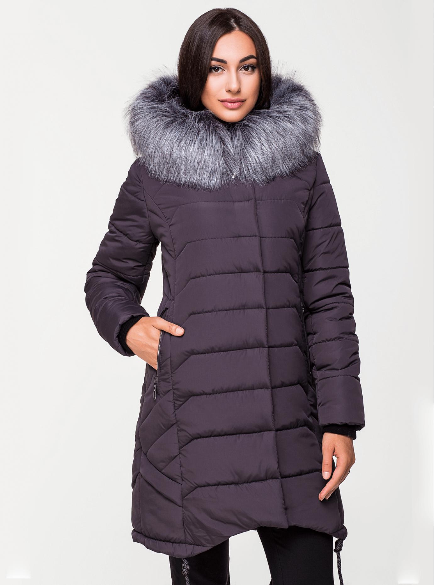 Куртка зимняя стеганая с искусственным мехом Тёмно-коричневый 44 (03-P19070): фото - Alster.ua