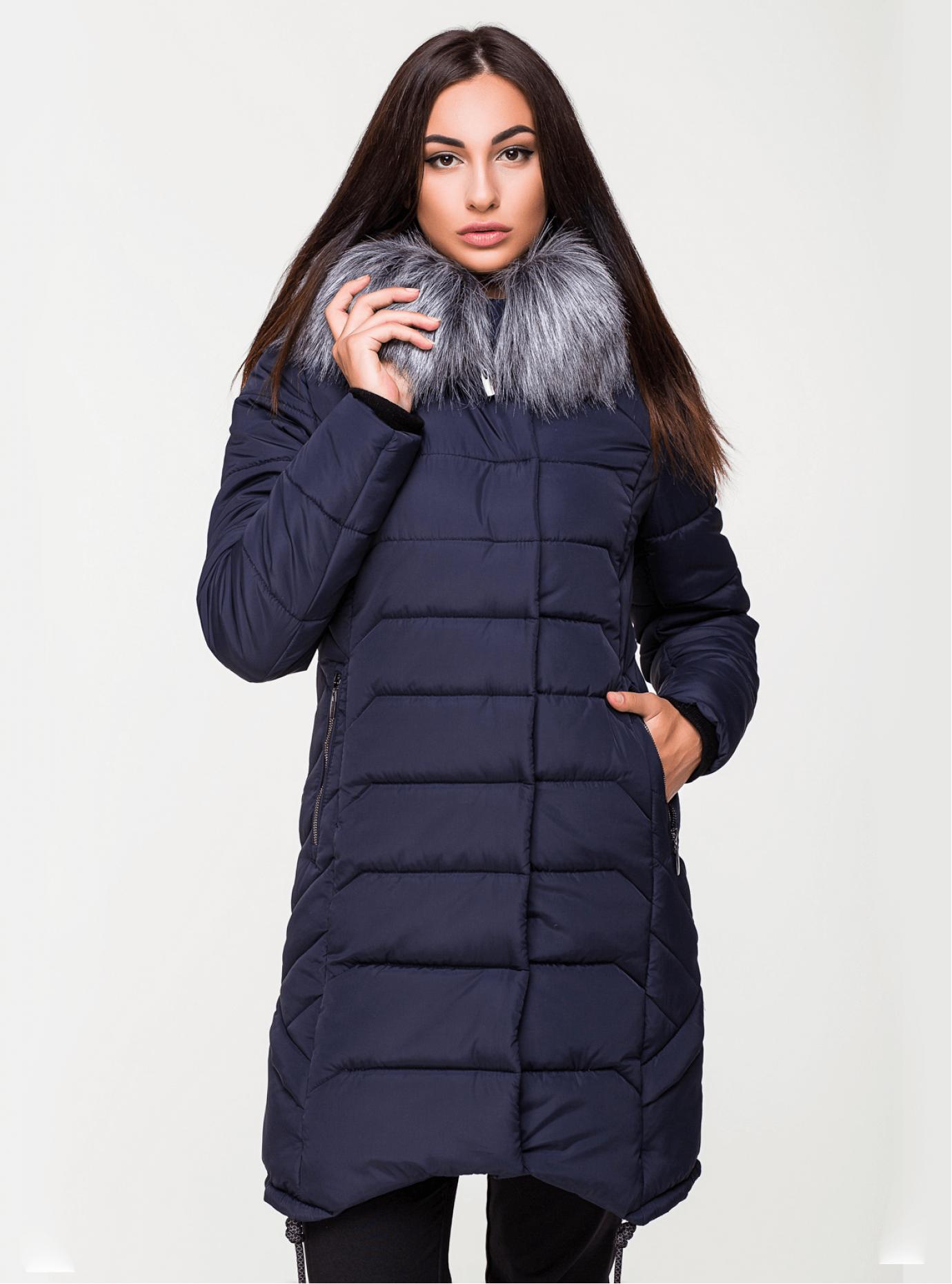 Куртка зимняя стеганая с искусственным мехом Тёмно-синий 44 (03-P19073): фото - Alster.ua