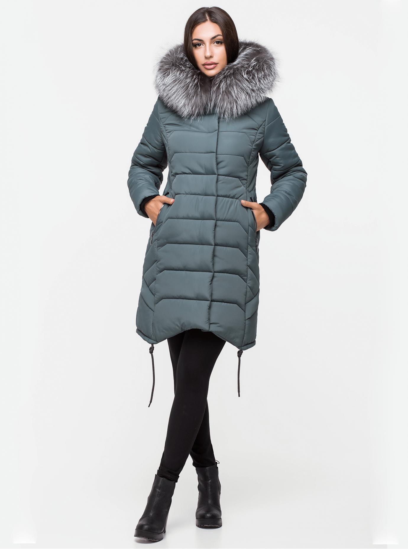 Куртка зимняя стеганая с мехом чернобурки Серо-зелёный 44 (03-P19074): фото - Alster.ua