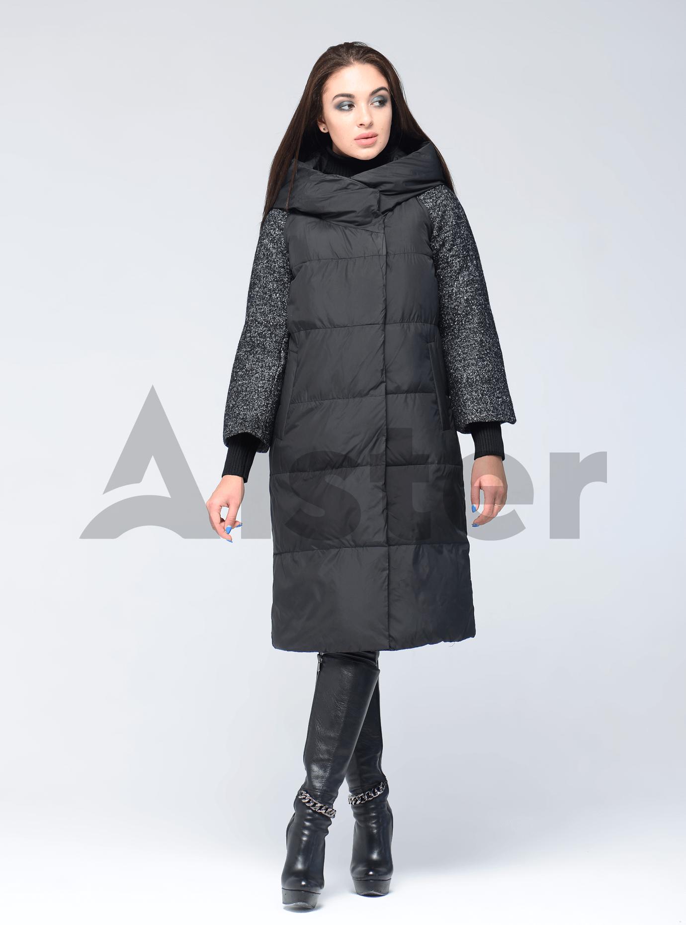 Куртка женская зимняя с текстильными манжетами Чёрный S (05-AB9111): фото - Alster.ua