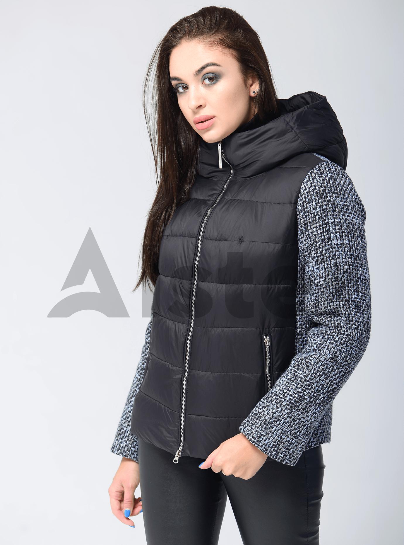 Куртка женская зимняя стёганая со вставками Чёрный S (05-AB9017): фото - Alster.ua