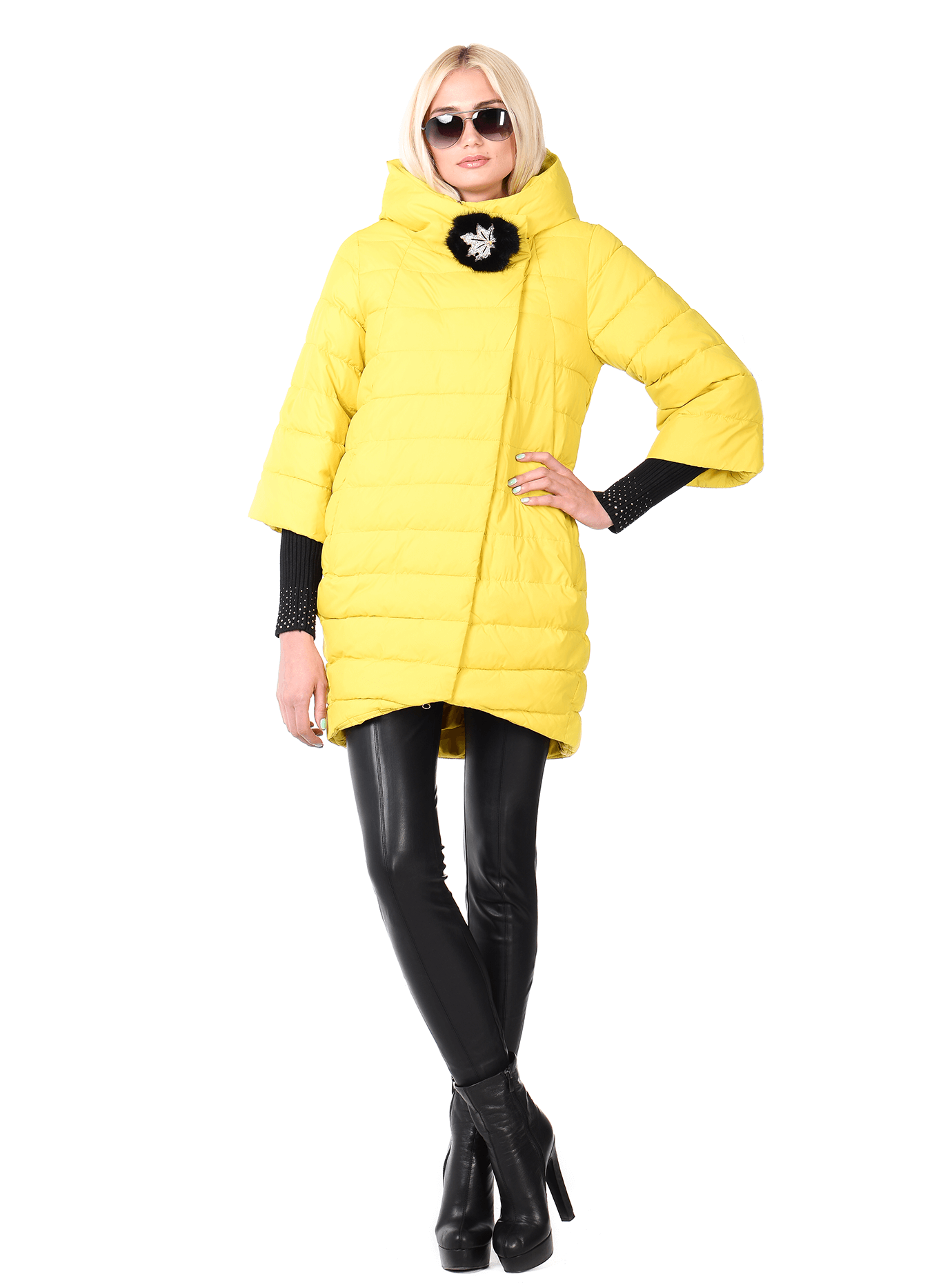 Куртка женская зимняя оригинальная Жёлтый S (05-AB9072): фото - Alster.ua