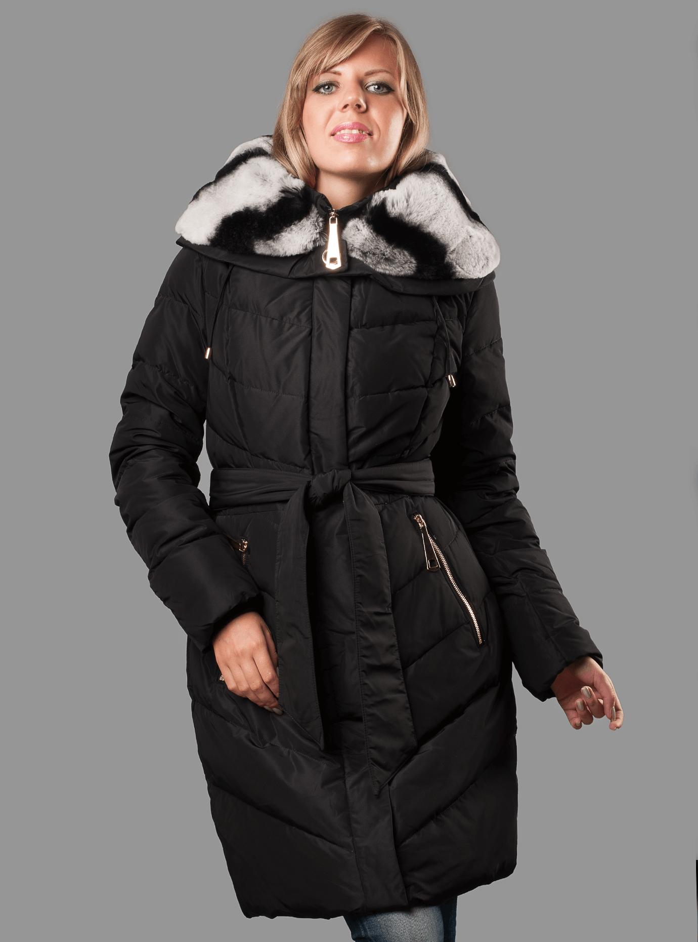 Женский зимний пуховик с мехом Чёрный M (05-AB9096): фото - Alster.ua