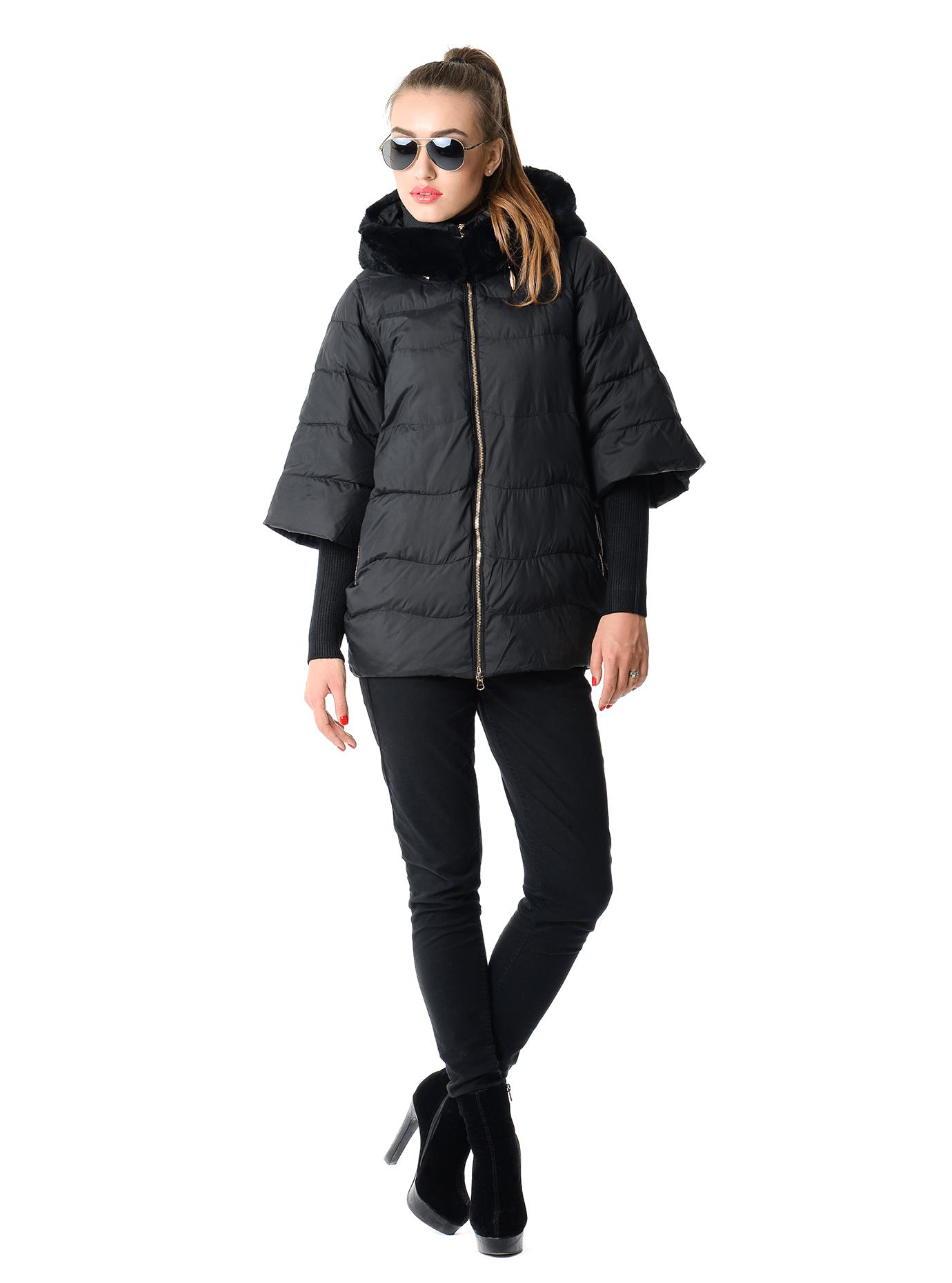 Куртка женская зимняя с трикотажным довязом Чёрный S (05-AB9102): фото - Alster.ua