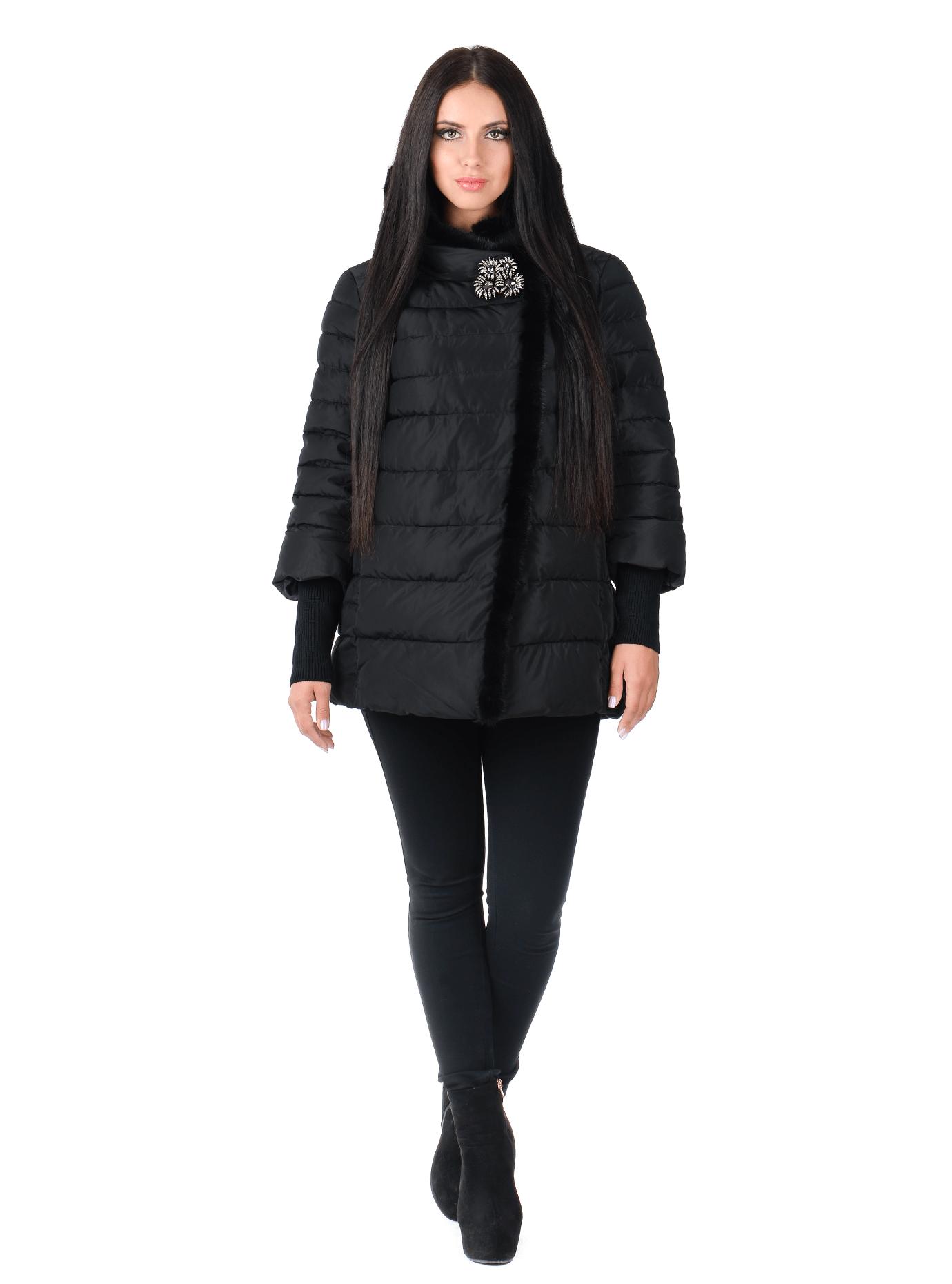 Куртка женская зимняя с мехом норки Чёрный S (05-AB9103): фото - Alster.ua
