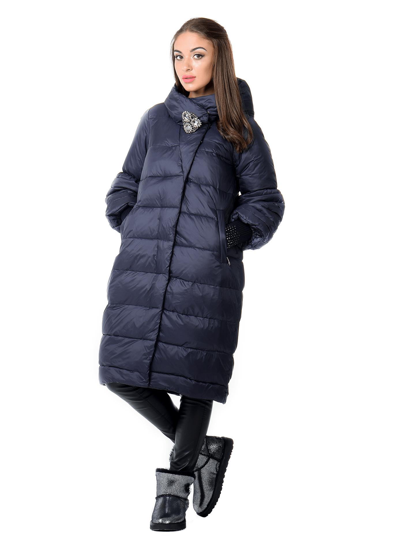 Куртка женская зимняя с капюшоном Тёмно-синий L (05-AB9090): фото - Alster.ua