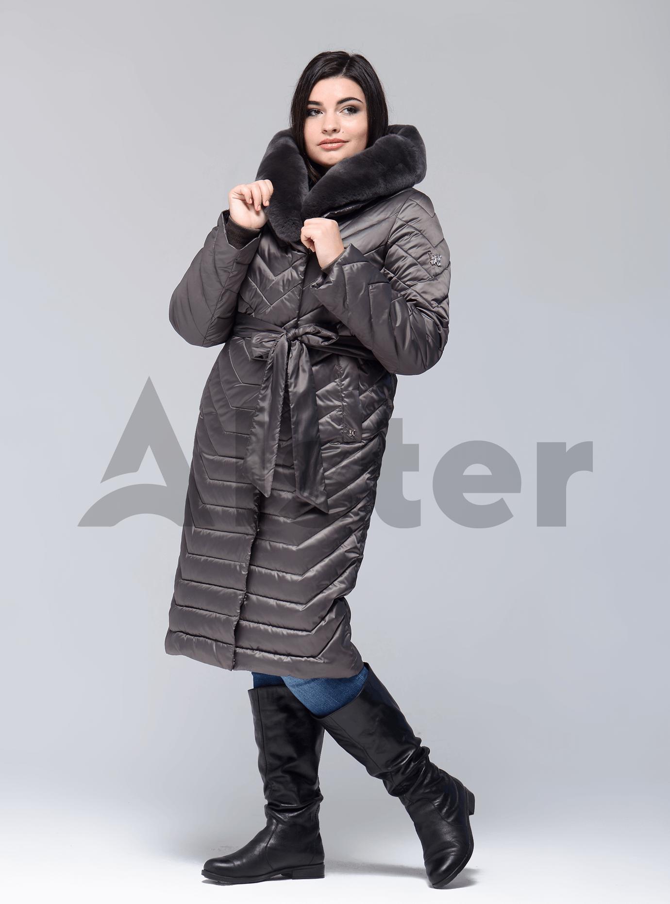 Куртка больших размеров зимняя с мехом кролика Коричневый 50 (02-BF19188): фото - Alster.ua