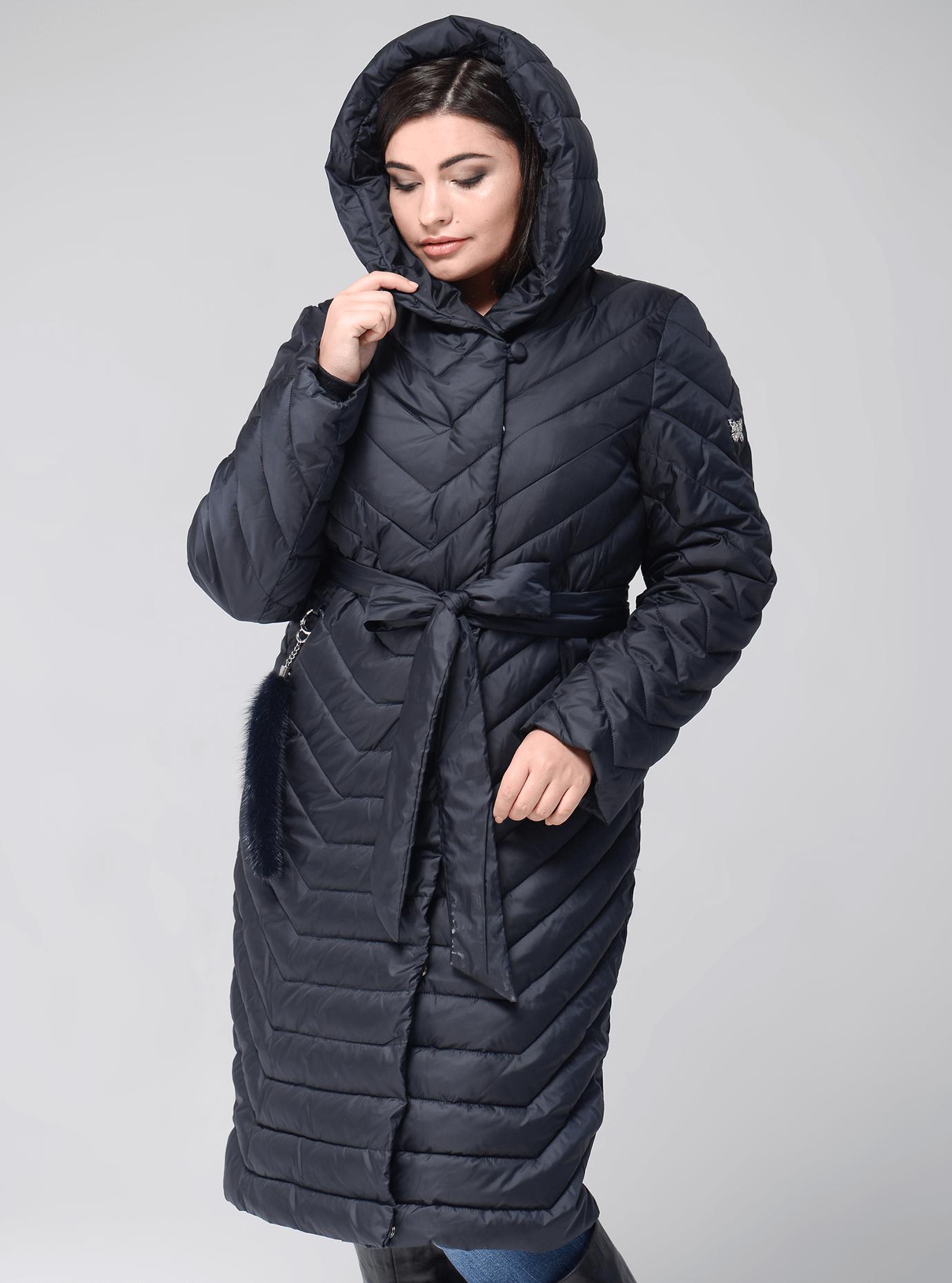 Куртка больших размеров зимняя с поясом Графитовый 50 (02-BF19182): фото - Alster.ua