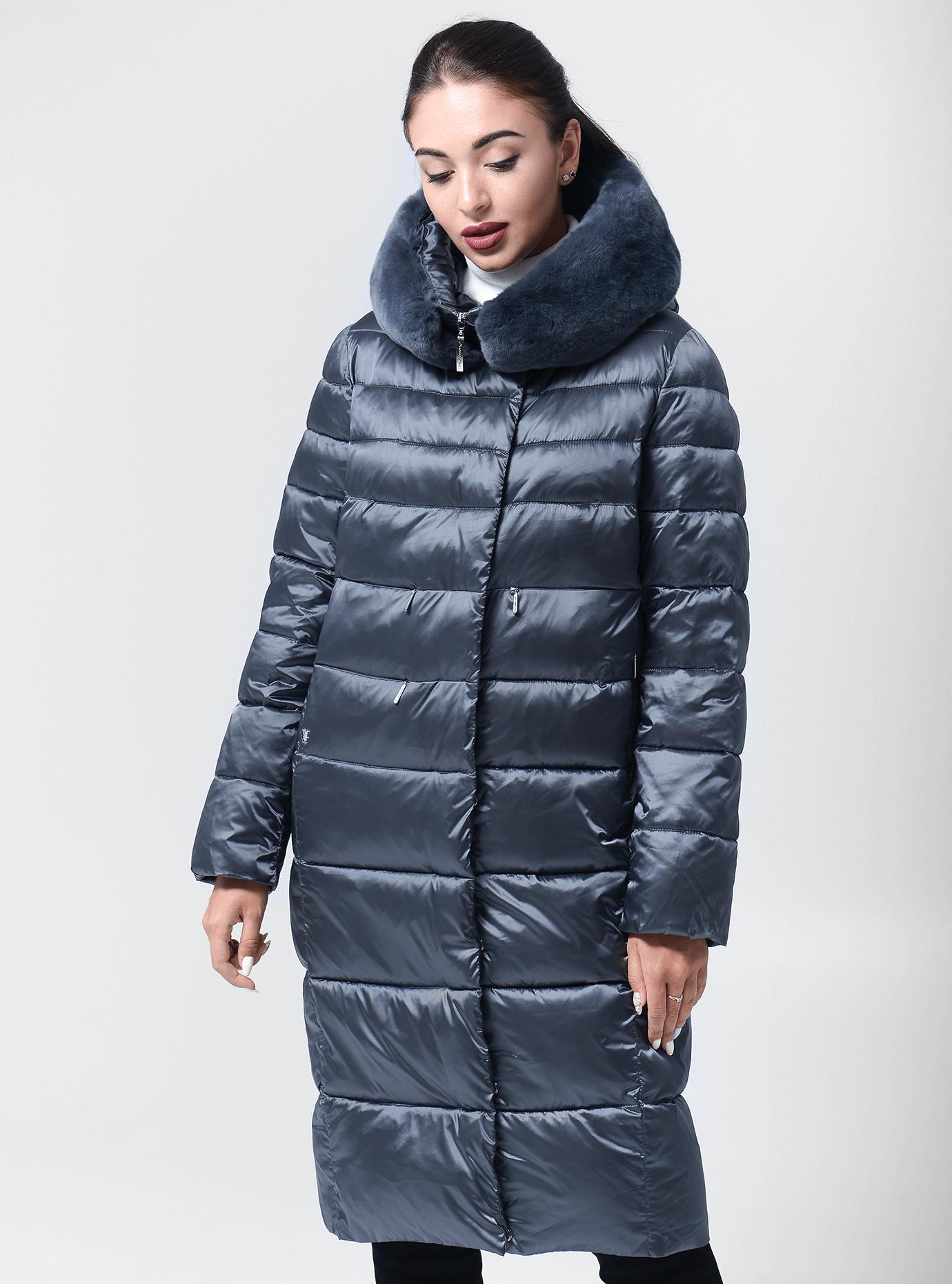 Куртка зимняя с воротником из меха кролика Серо-синий 42 (02-BF19179): фото - Alster.ua