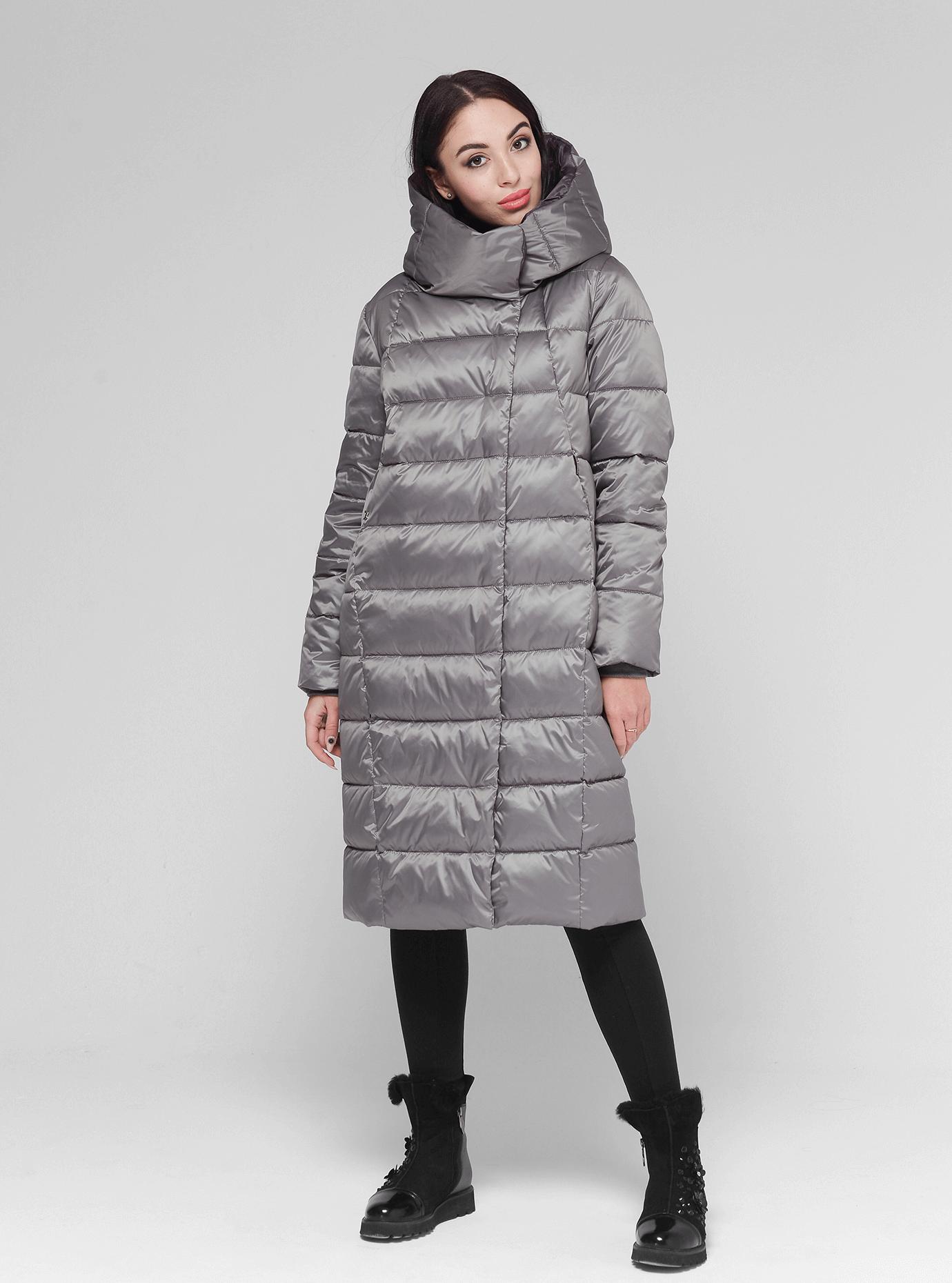 Куртка зимняя женская прямая Серый 46 (02-BF19170): фото - Alster.ua