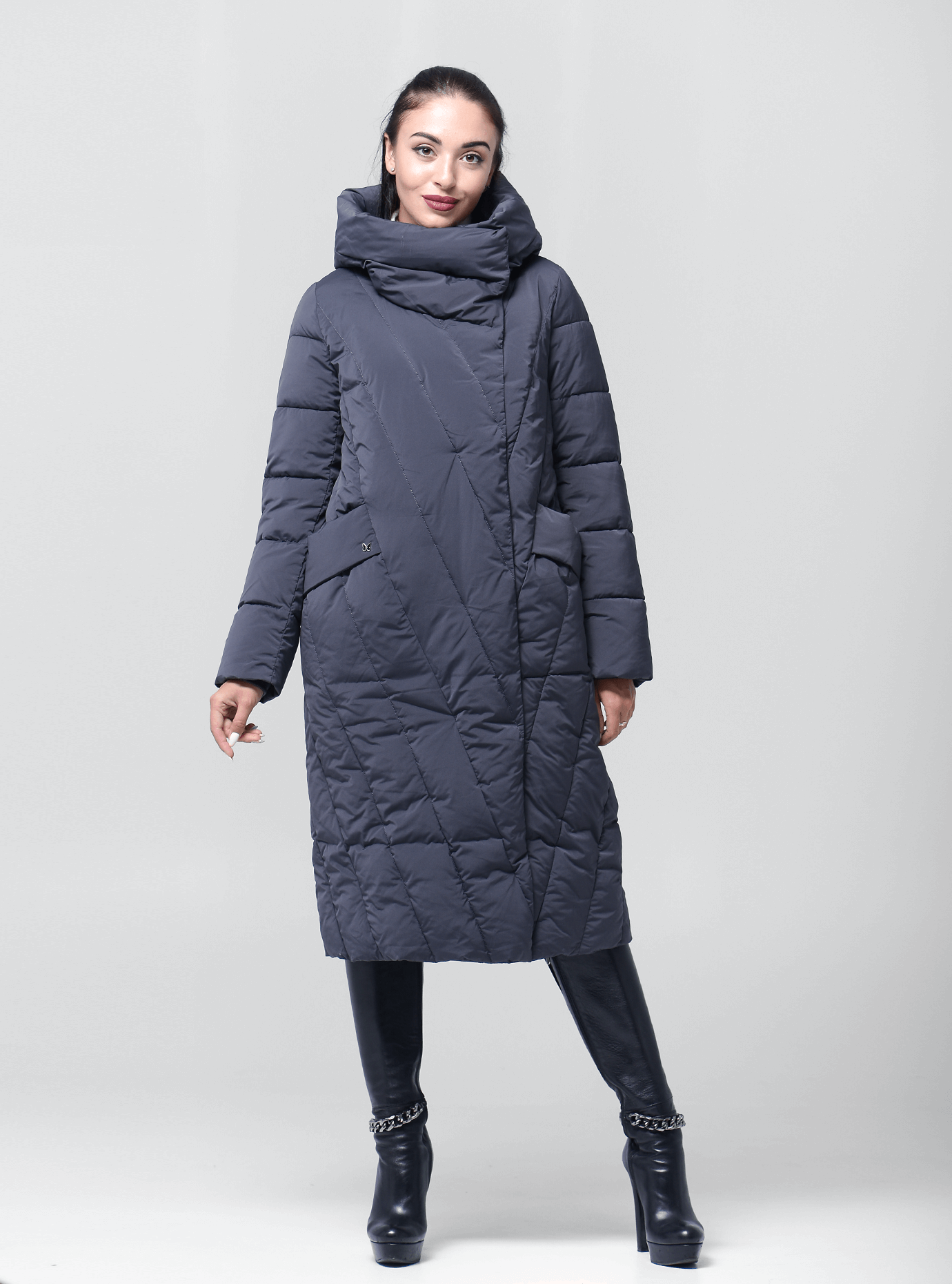 Пальто зимове довге Графітовий 44 (02-BF19152): фото - Alster.ua