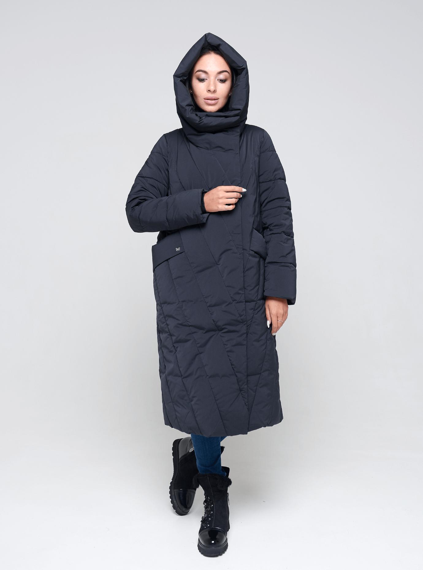 Пальто зимове довге Темно-синій 42 (02-BF19139): фото - Alster.ua