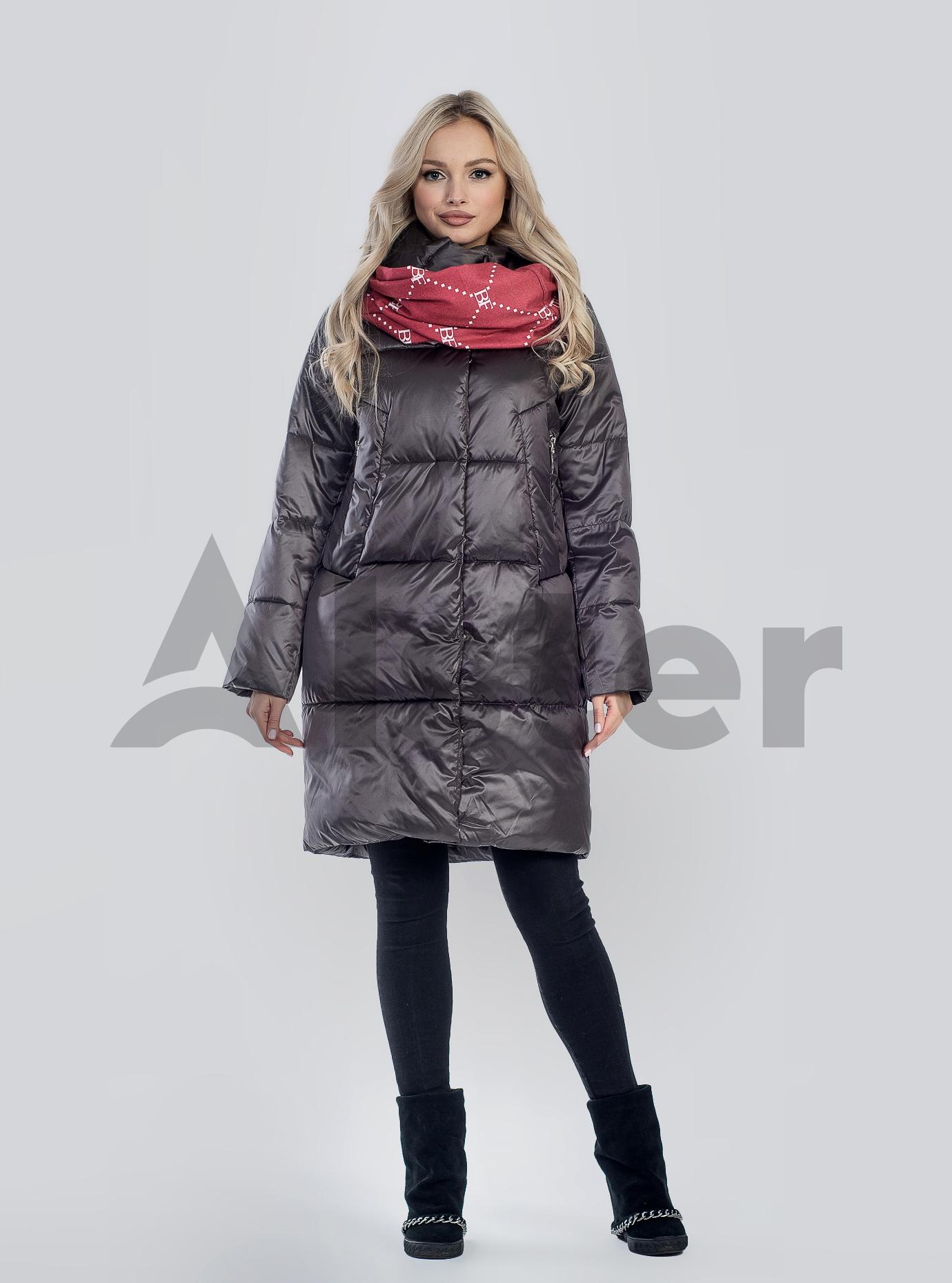 Куртка зимняя длинная стеганая Коричневый 42 (02-210155): фото - Alster.ua