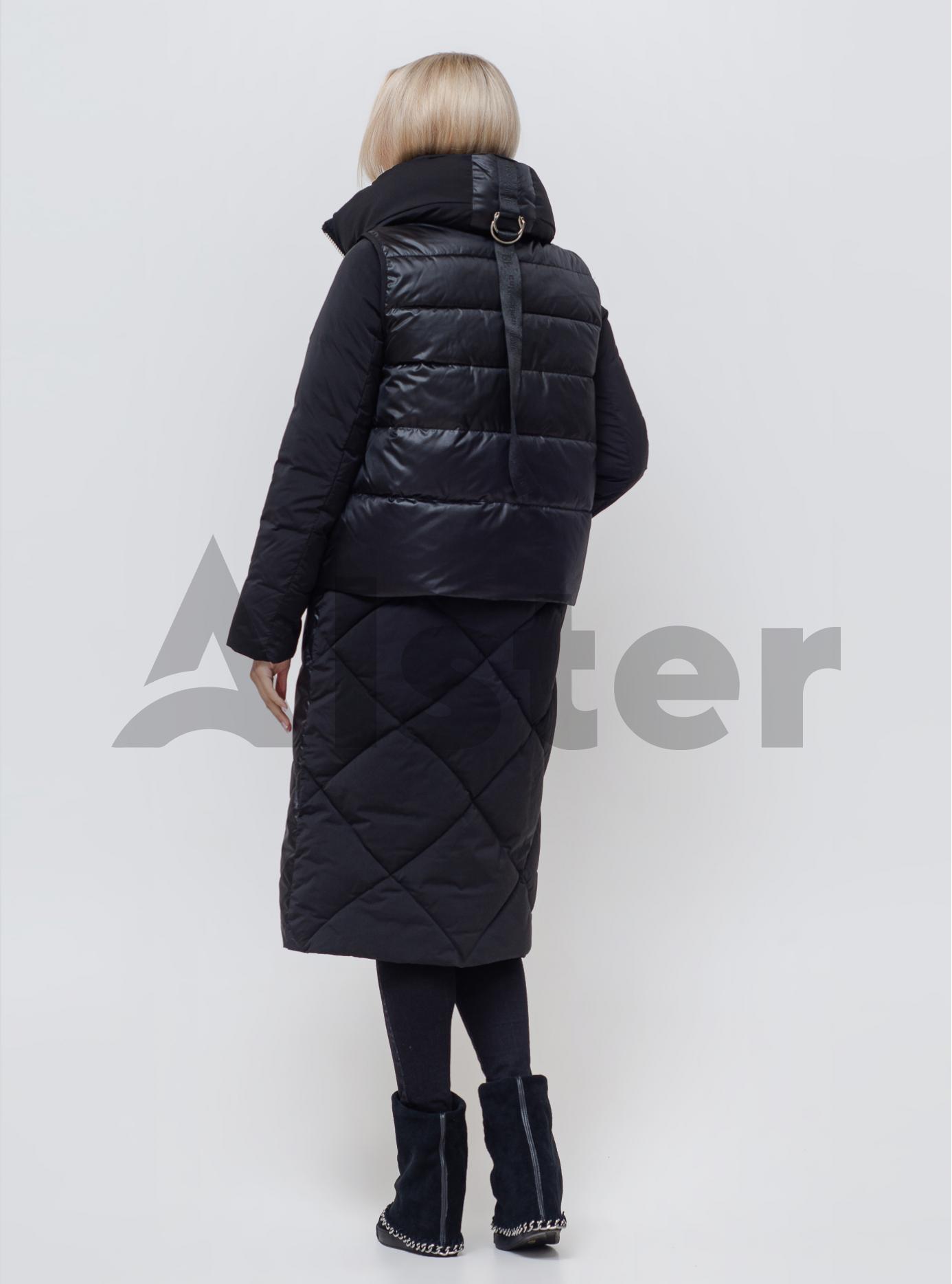 Куртка зимняя длинная с жилетом Чёрный 48 (01-N200171): фото - Alster.ua