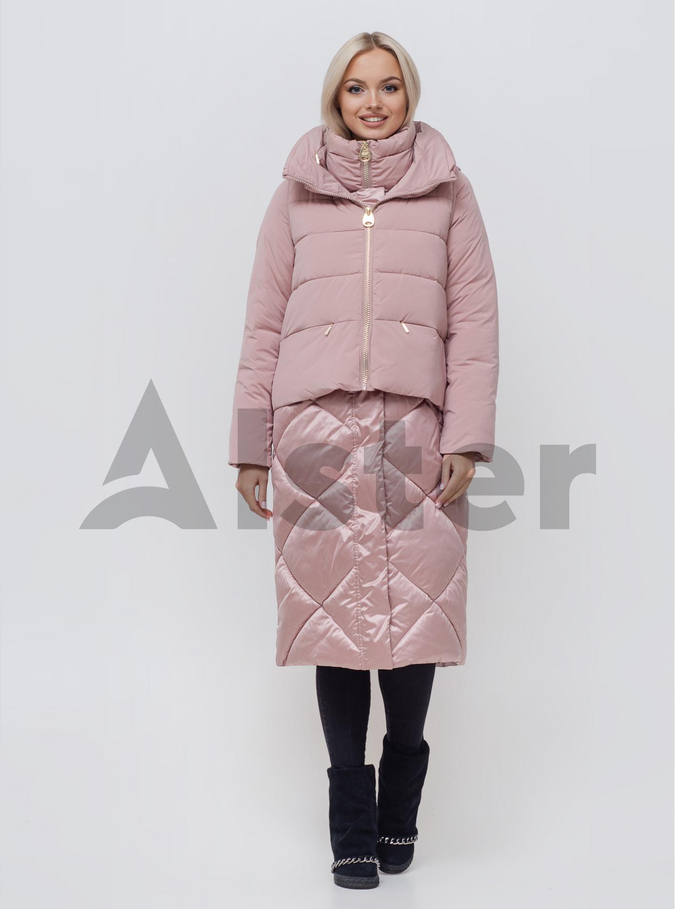 Куртка зимняя длинная с жилетом Розовый 42 (01-N200163): фото - Alster.ua