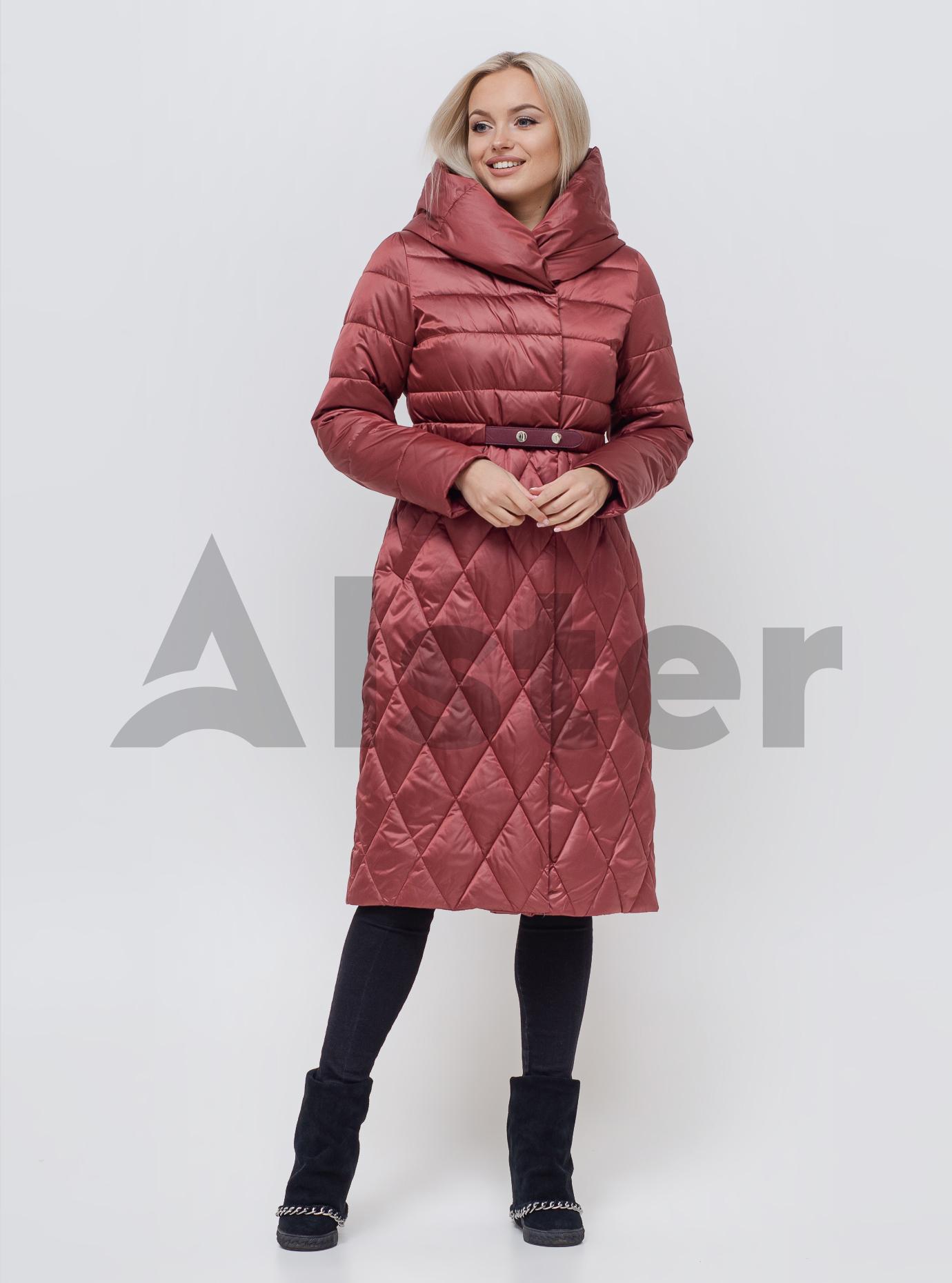 Пальто зимове з поясом Бордовий 46 (01-N200241): фото - Alster.ua