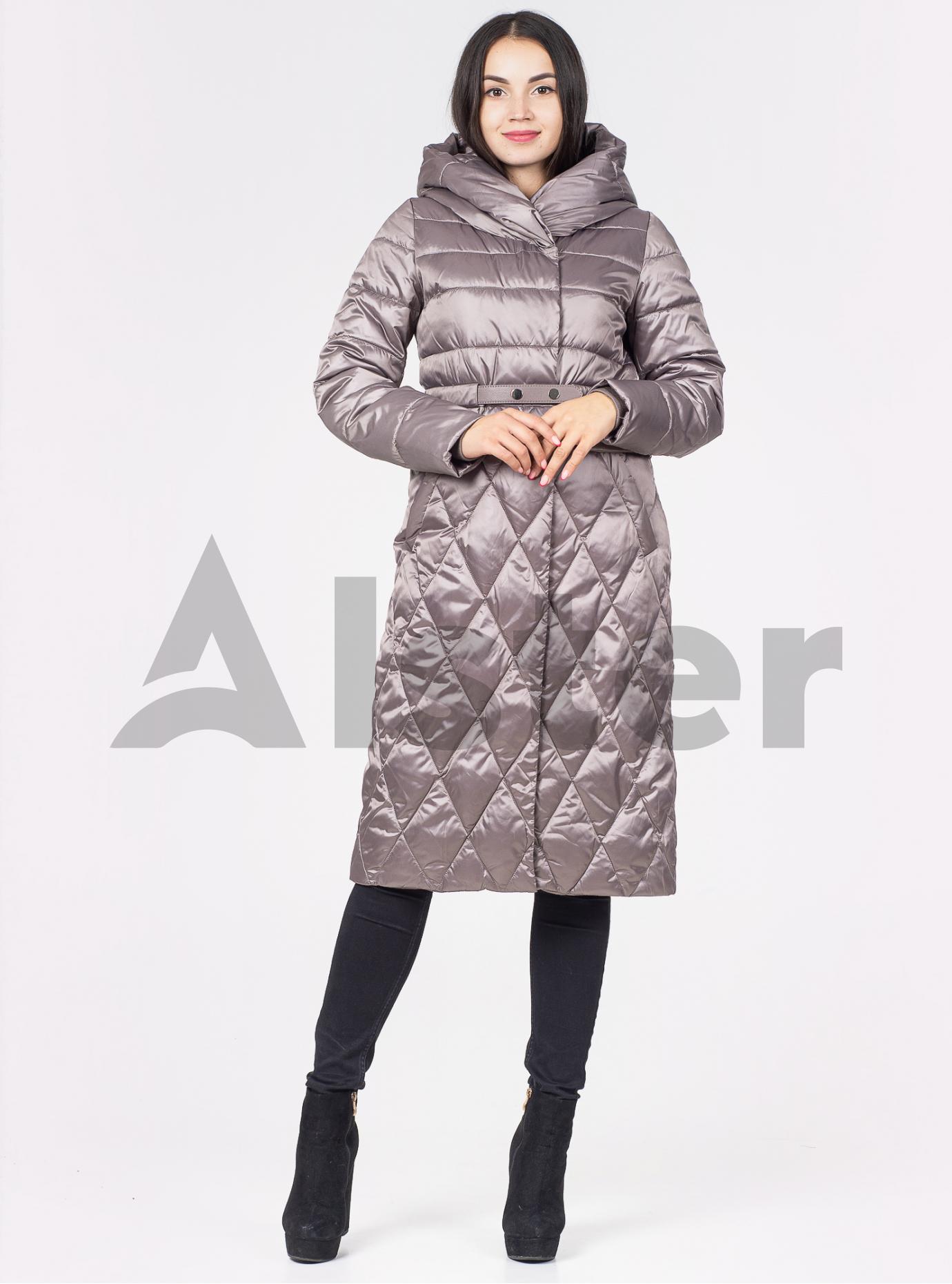 Пальто зимове з поясом Сірий 42 (02-N200233): фото - Alster.ua