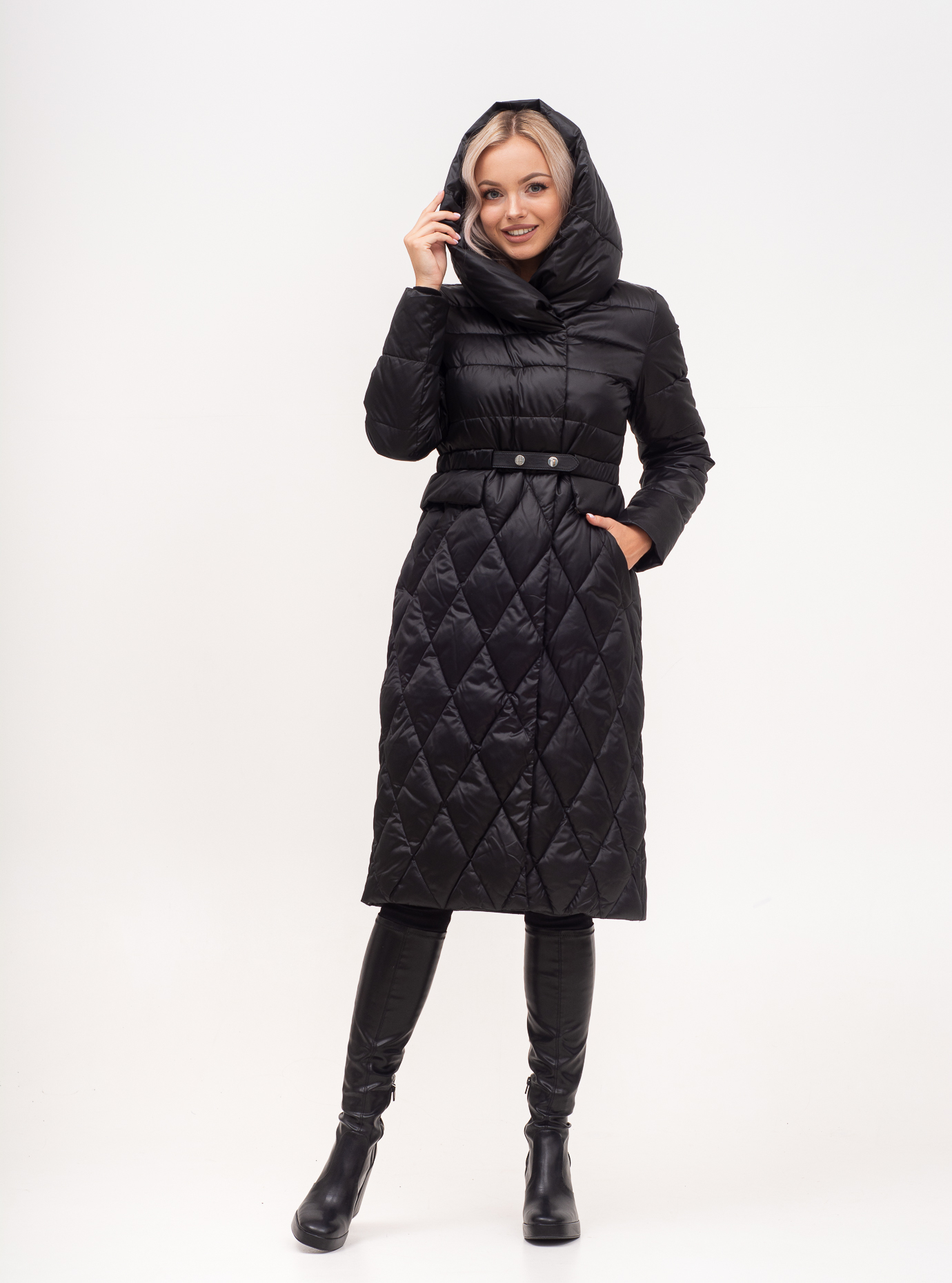 Пальто зимове з поясом Чорний 46 (01-N200247): фото - Alster.ua