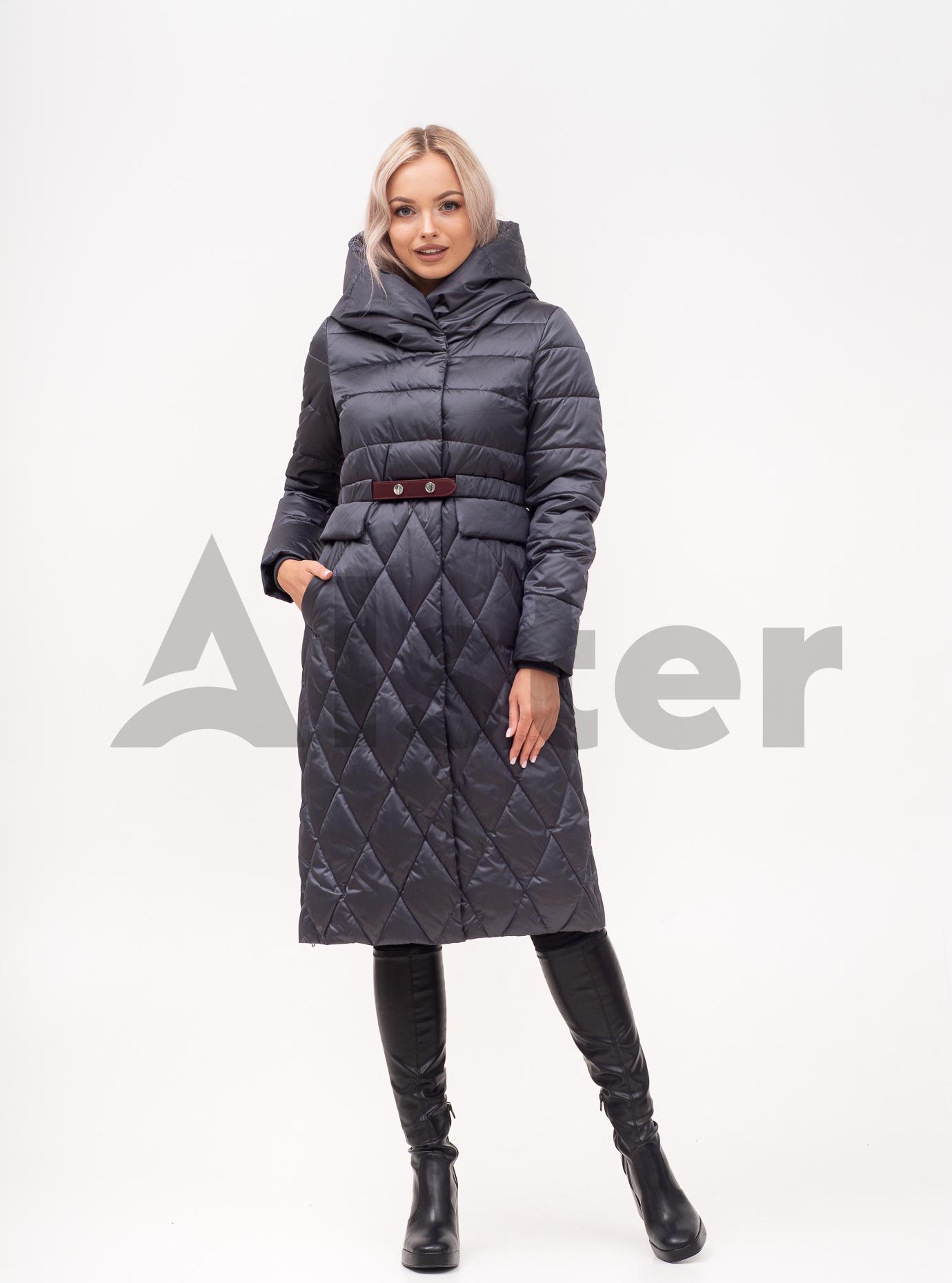 Пальто зимове з поясом Графітовий 42 (01-N200227): фото - Alster.ua
