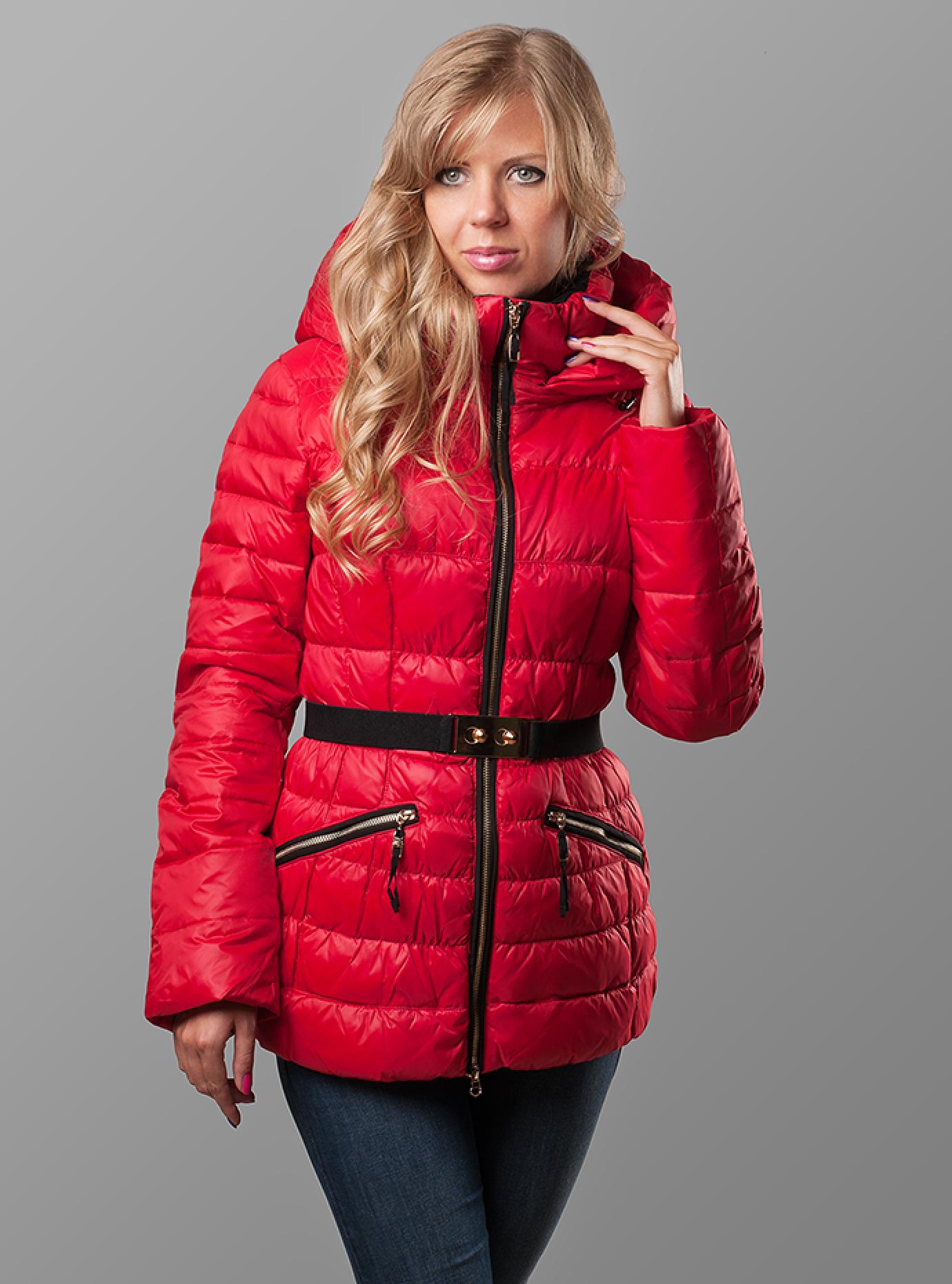 Пуховик женский с поясом Красный S (02-CR170394): фото - Alster.ua