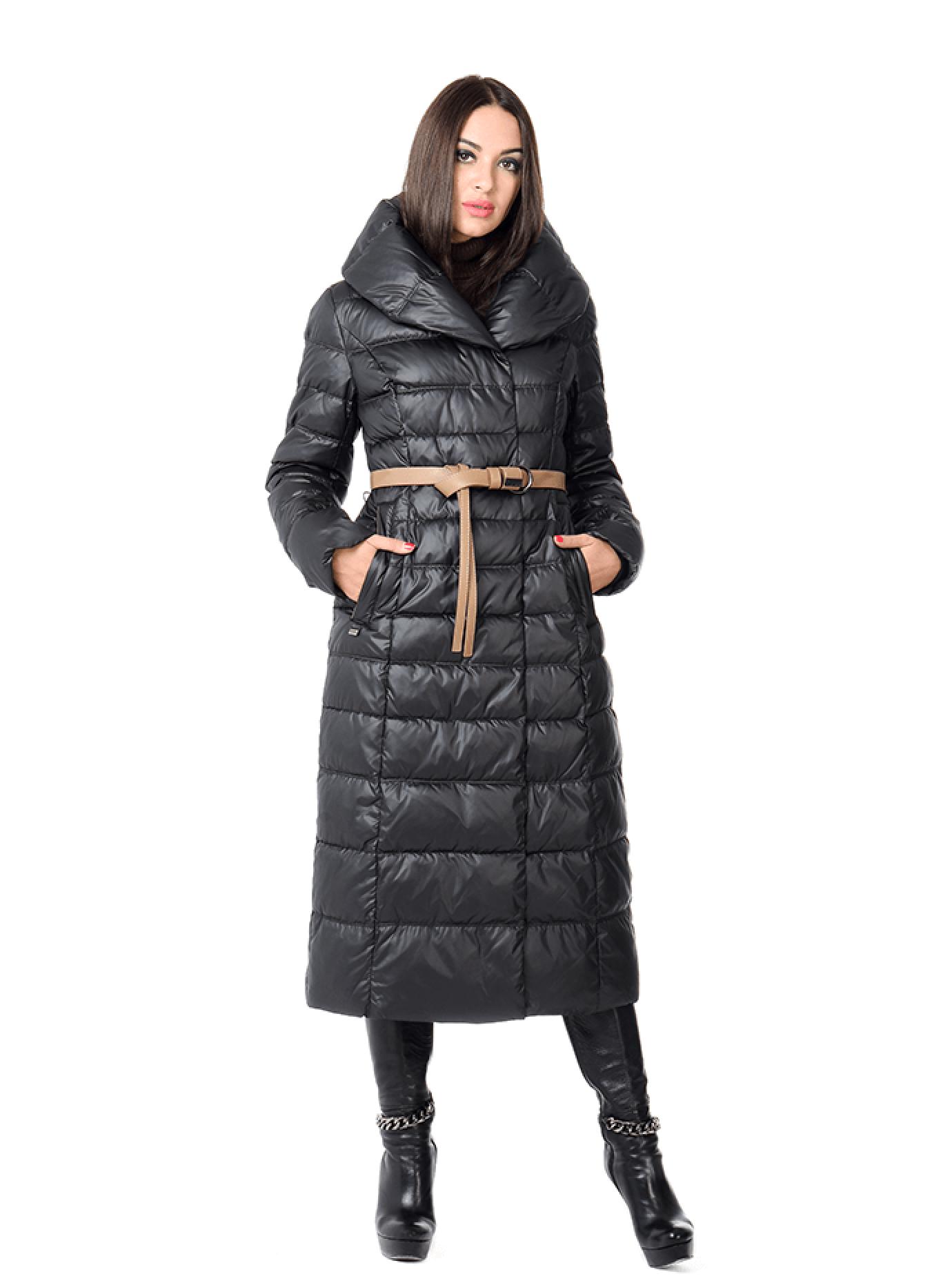 Куртка женская зимняя длинная с поясом Чёрный S (02-CD18075): фото - Alster.ua