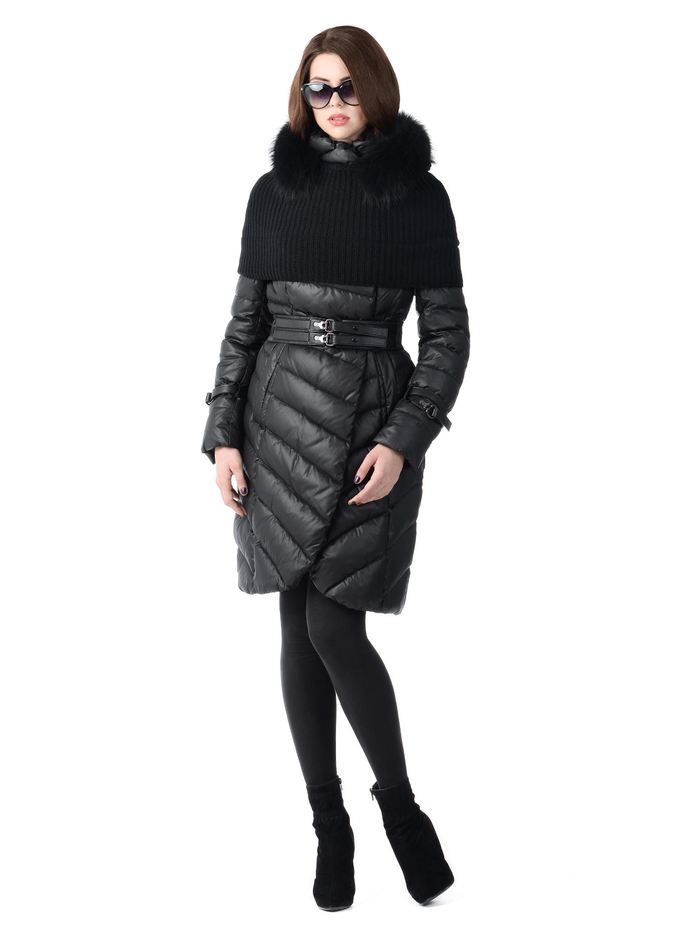 Куртка женская зимняя с мехом енота Чёрный S (02-CD18076): фото - Alster.ua